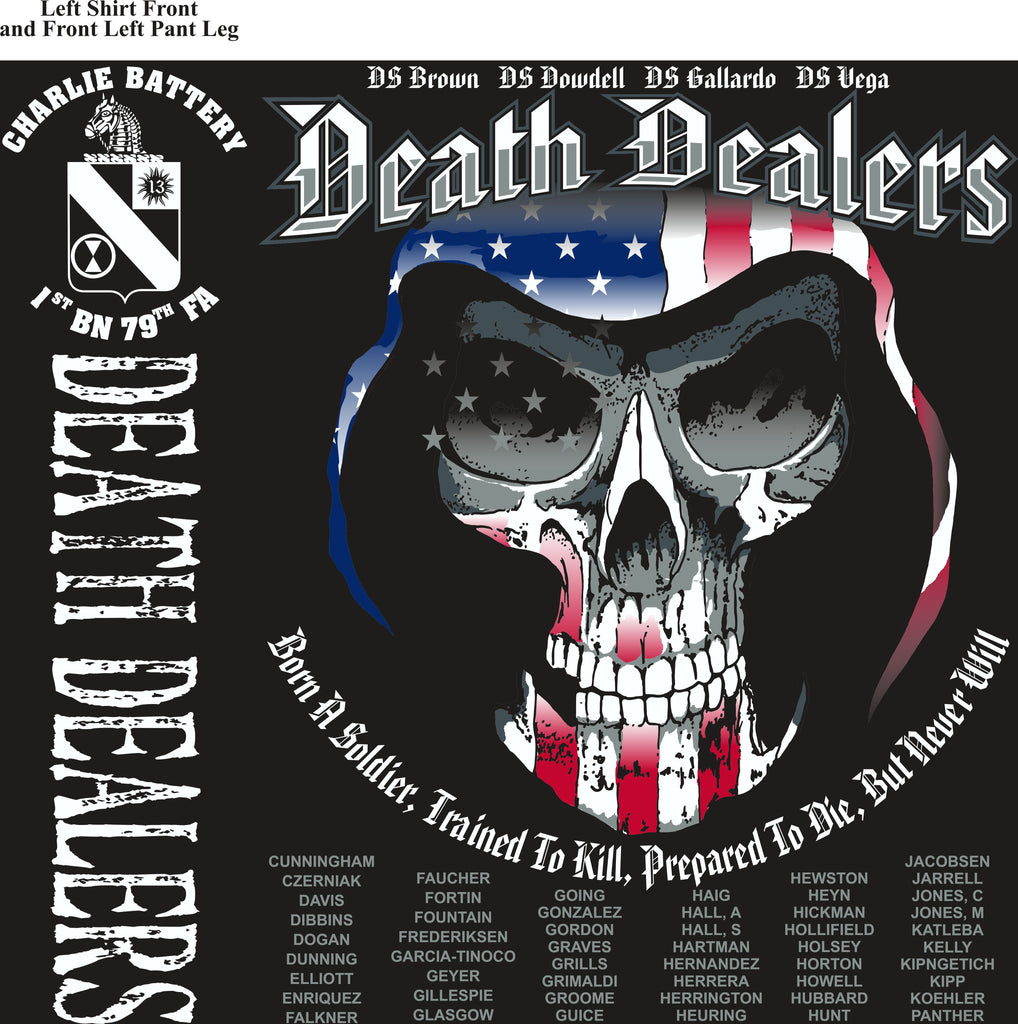 PLATOON SHIRTS (2nd generation print) CHARLIE 1st 79th DEATH DEALERS JULY 2017