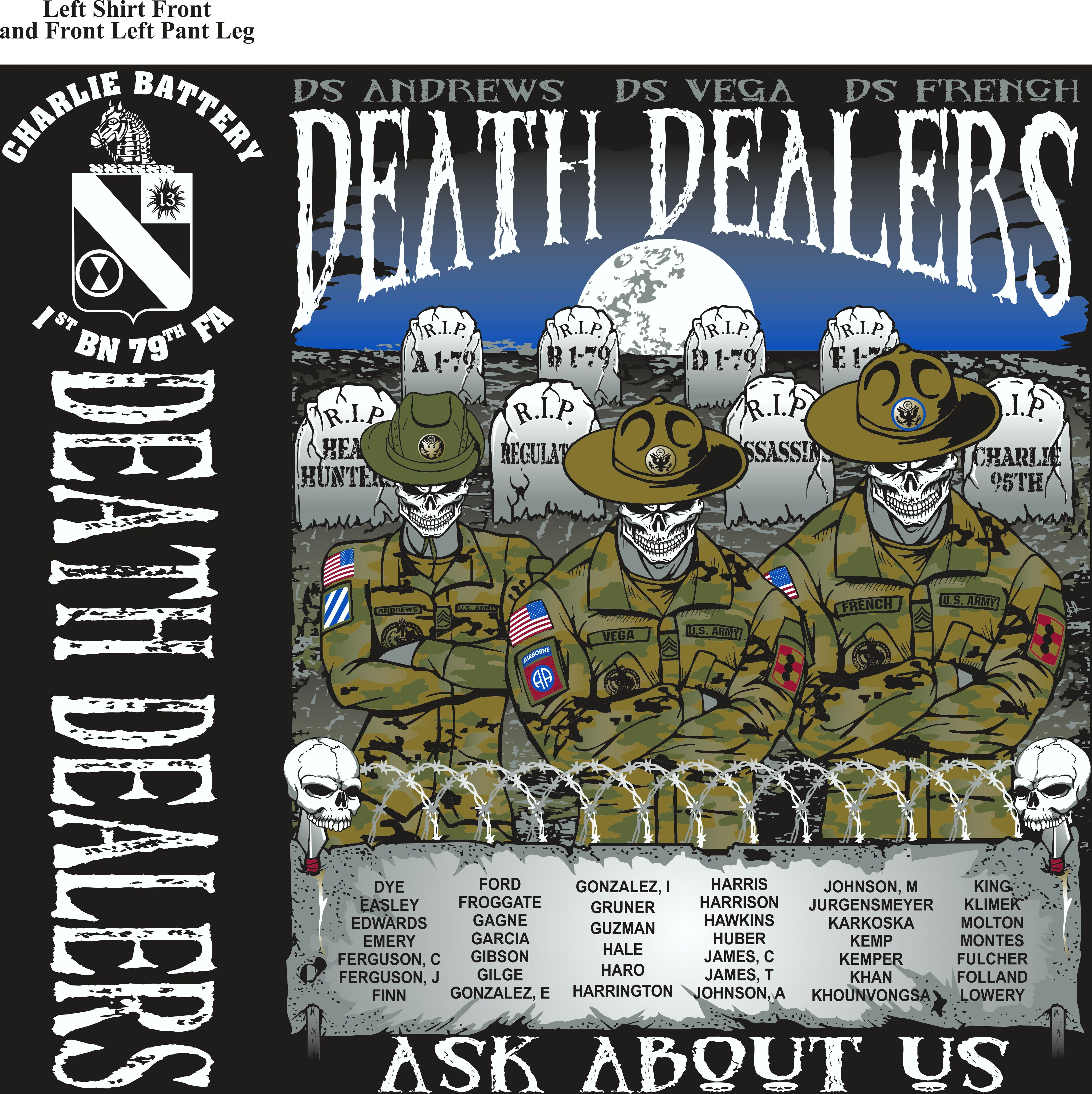 Platoon Shirts (2nd generation print) CHARLIE 1st 79th DEATH DEALERS MAY 2018