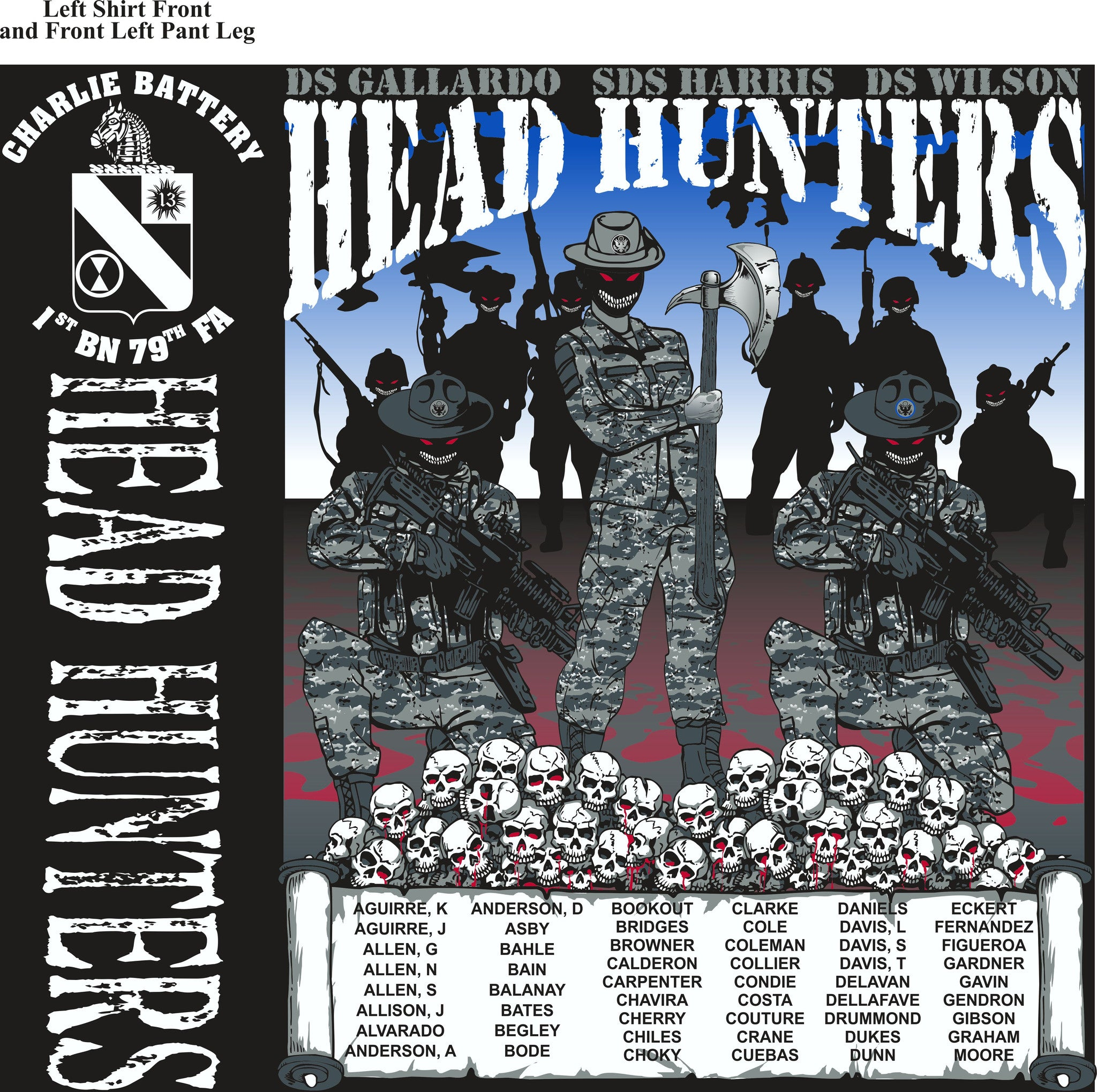 PLATOON SHIRTS (2nd generation print) CHARLIE 1st 79th HEAD HUNTERS FEB 2017