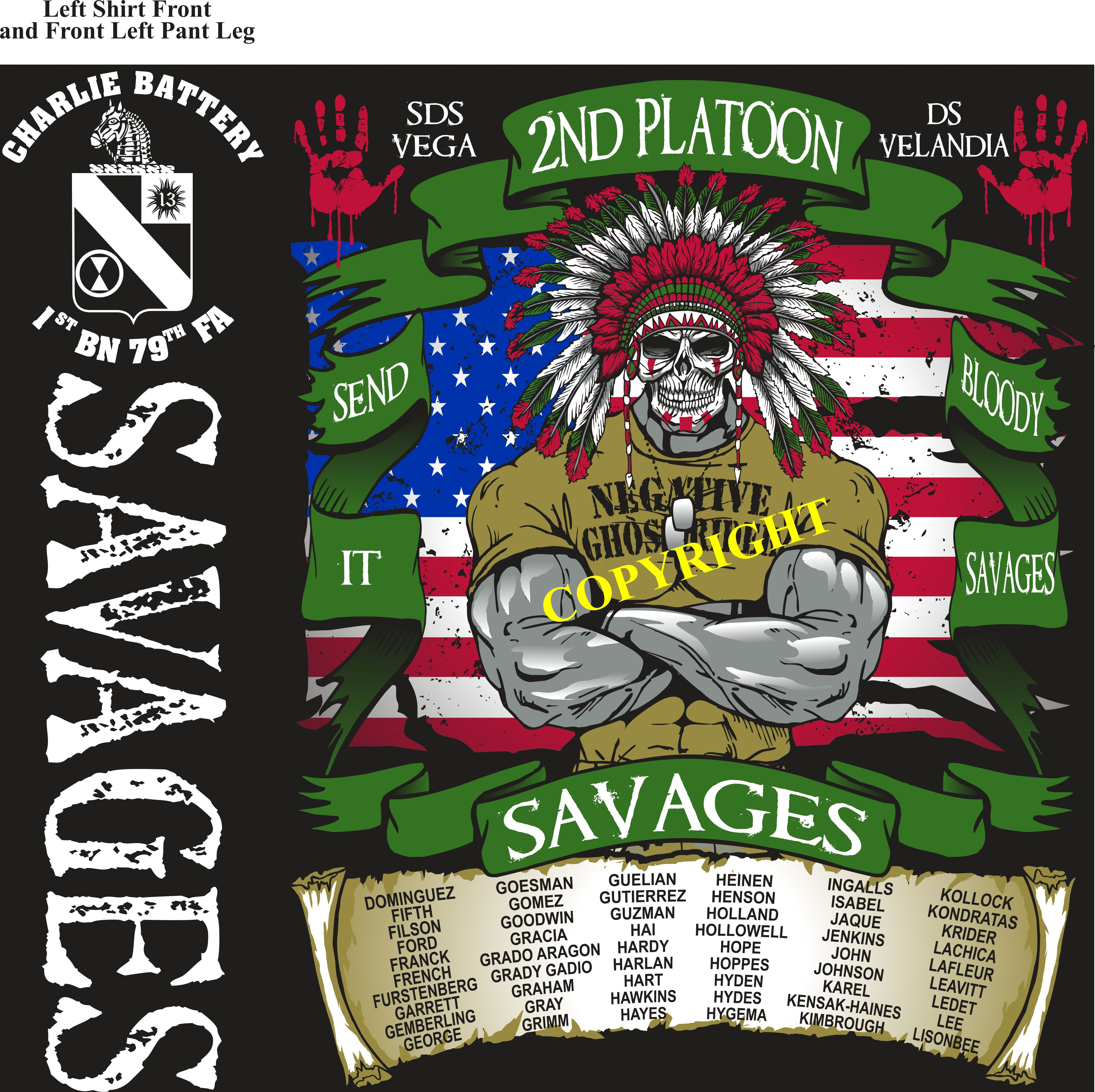Platoon Shirts (2nd generation print) CHARLIE 1st 79th SAVAGES NOV 2018