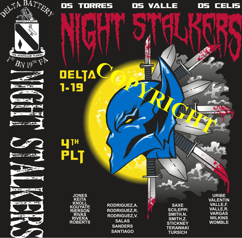 Platoon Shirts (2nd generation print) DELTA 1st 19th NIGHT STALKERS OCT 2020