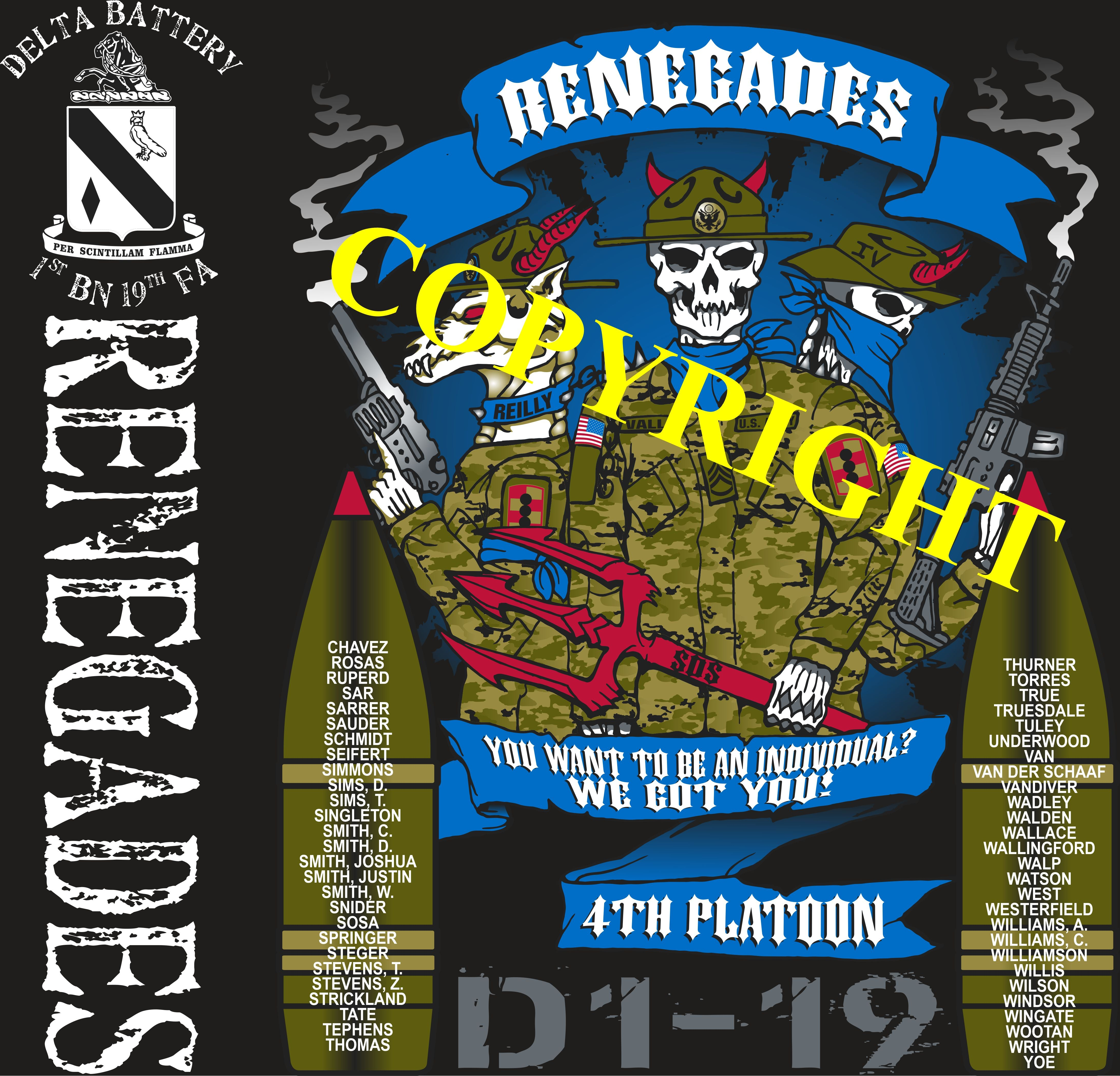 Platoon Shirts DELTA 1st 19th RENEGADES AUG 2020