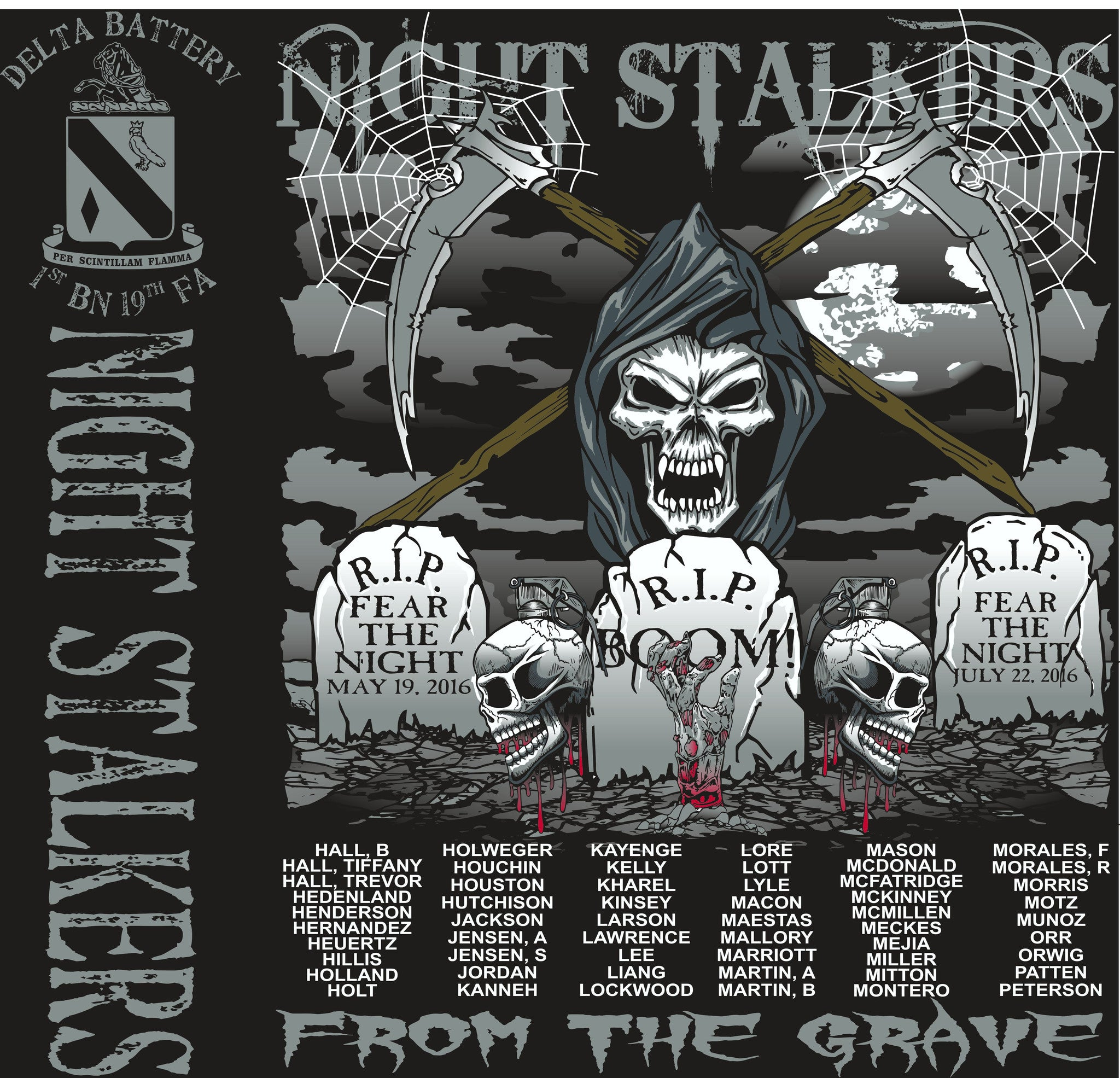 PLATOON SHIRTS (2nd generation print) DELTA 1st 19th NIGHT STALKERS JULY 2016
