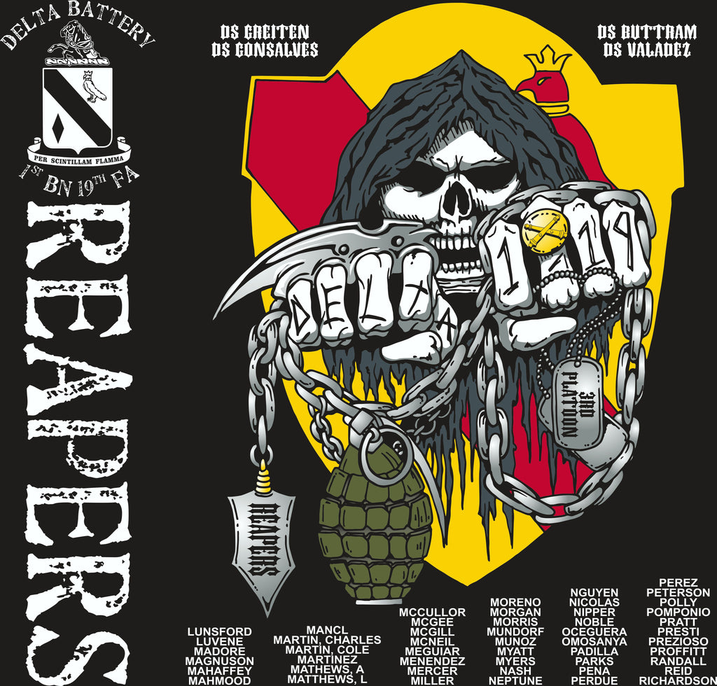 PLATOON SHIRTS (2nd generation print) DELTA 1st 19th REAPERS AUG 2017