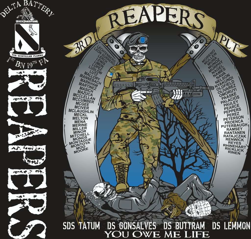 Platoon Shirts (2nd generation print) DELTA 1ST 19TH REAPERS OCT 2017