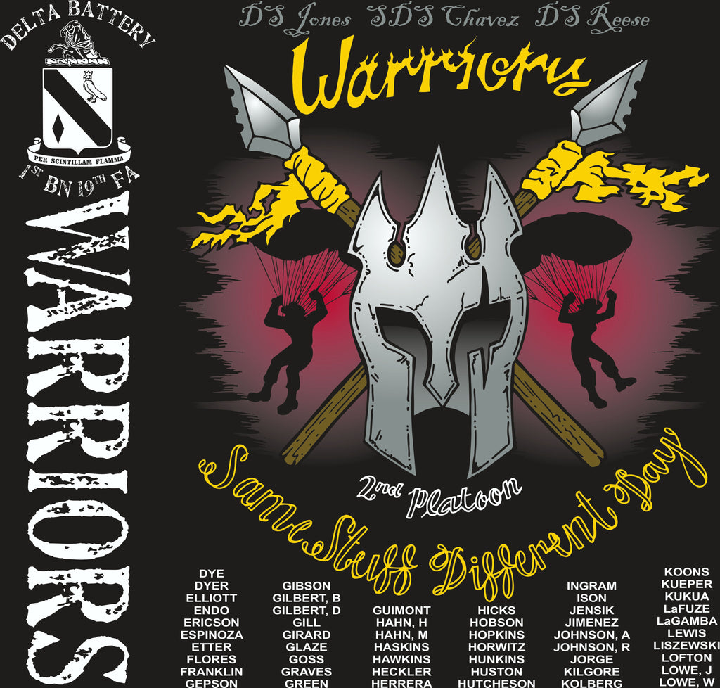 PLATOON SHIRTS (2nd generation print) DELTA 1st 19th WARRIORS AUG 2017