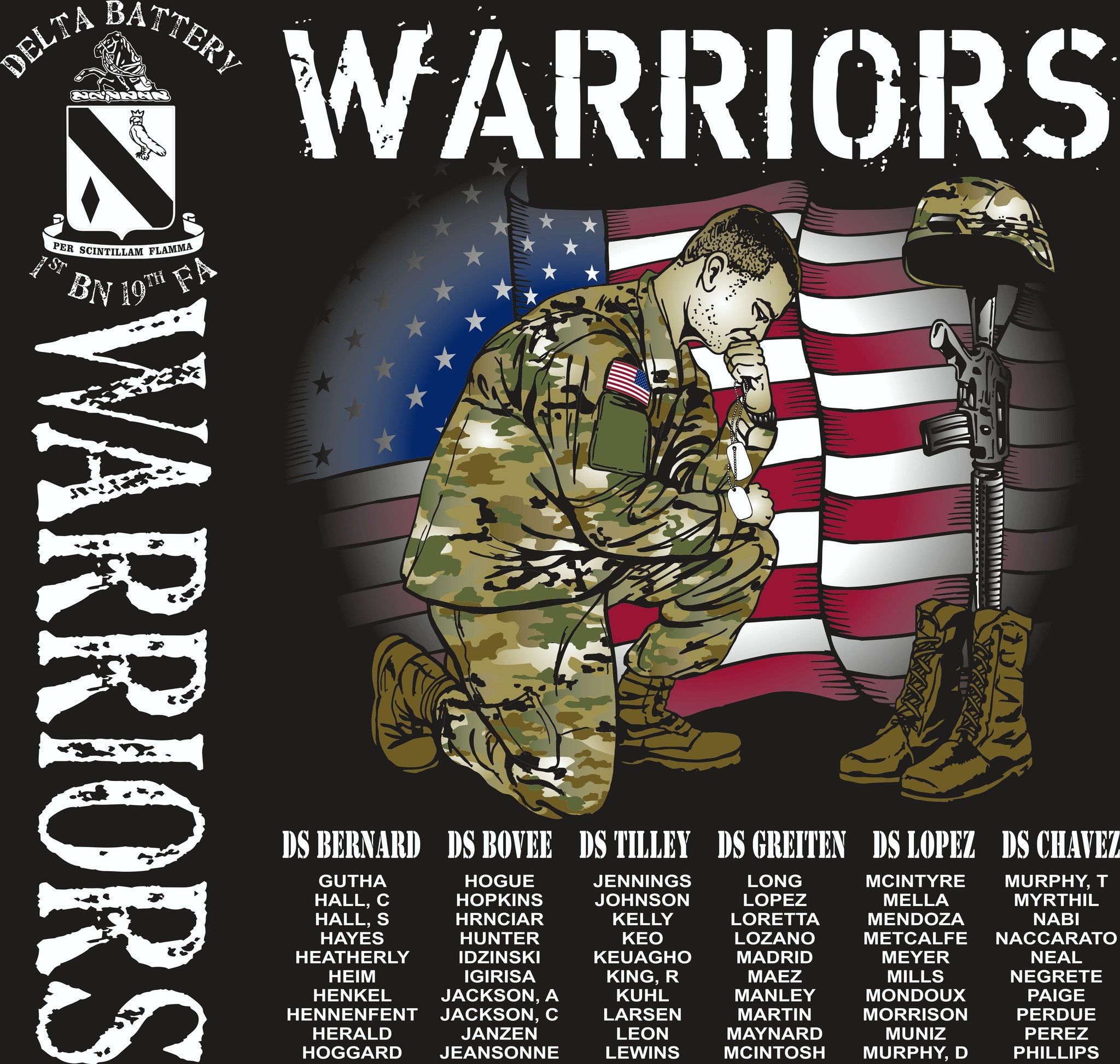 PLATOON SHIRTS (2nd generation print) DELTA 1st 19th WARRIORS JAN 2017
