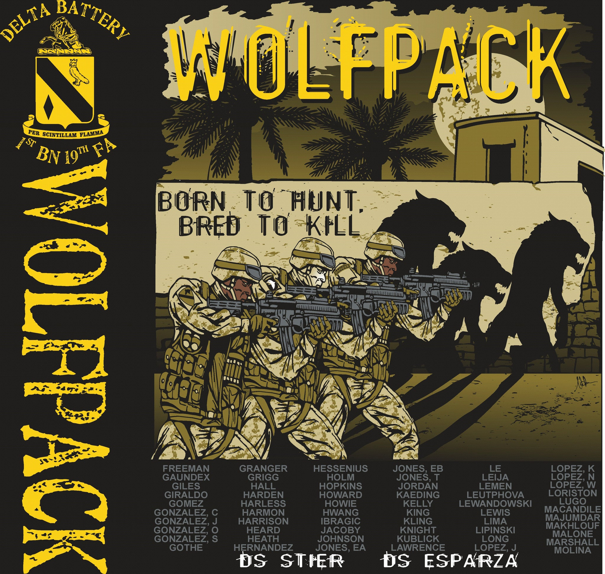 Platoon Shirts Delta 1st 19th WOLFPACK OCT 2015