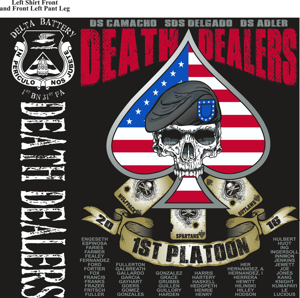 PLATOON SHIRTS (2nd generation print) DELTA 1st 31st DEATH DEALERS DEC 2016