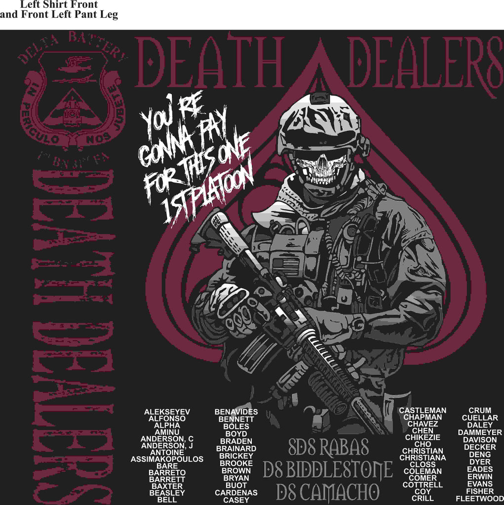PLATOON SHIRTS (2nd generation print) DELTA 1st 31st DEATH DEALERS MAR 2016