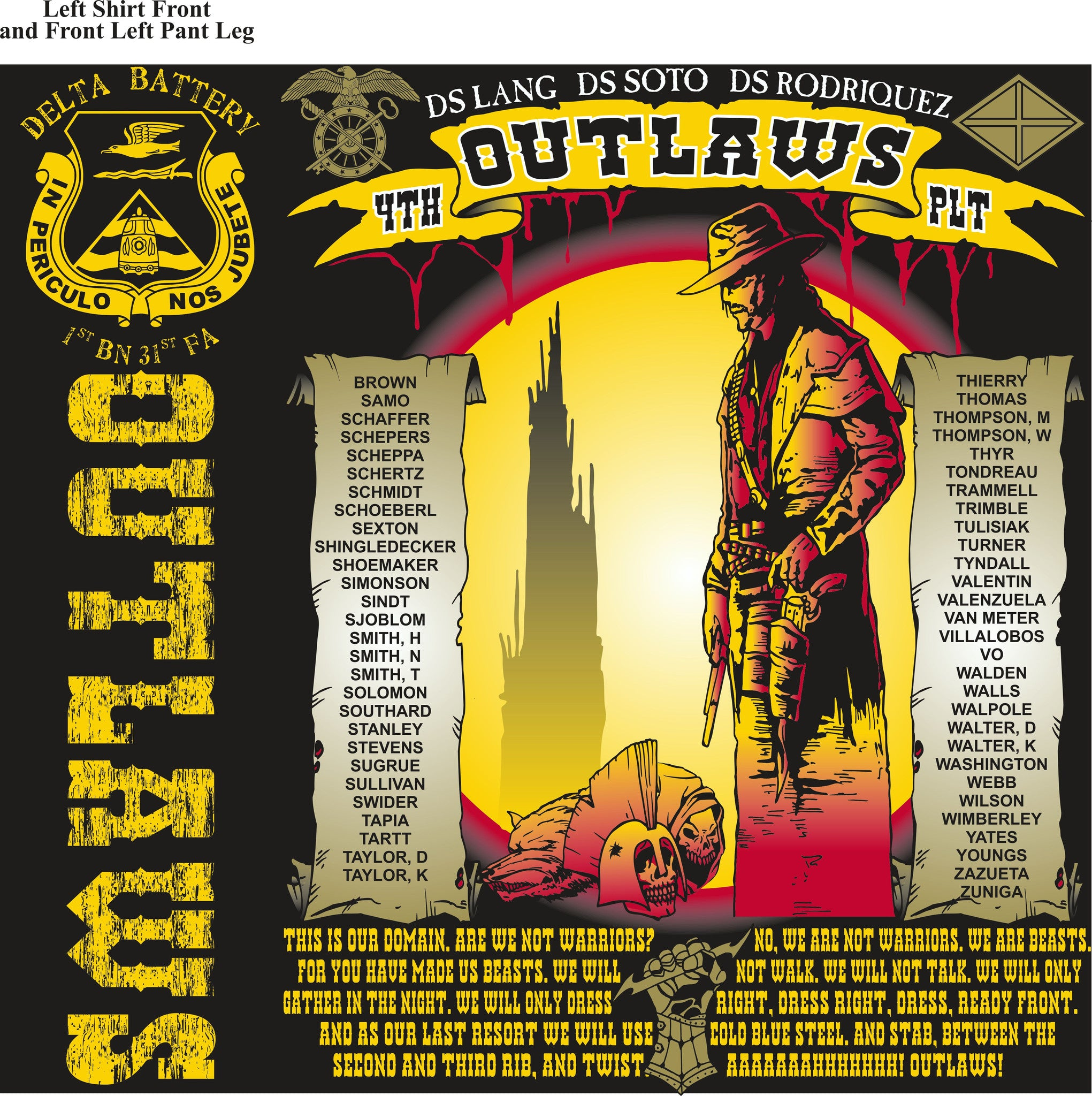 PLATOON SHIRTS (2nd generation print) DELTA 1st 31st OUTLAWS SEPT 2016