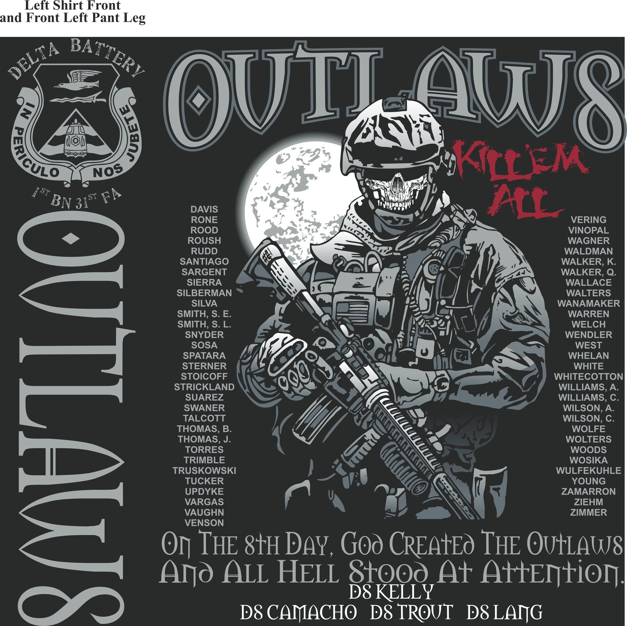 Platoon Shirts DELTA 1st 31st OUTLAWS SEPT 2015