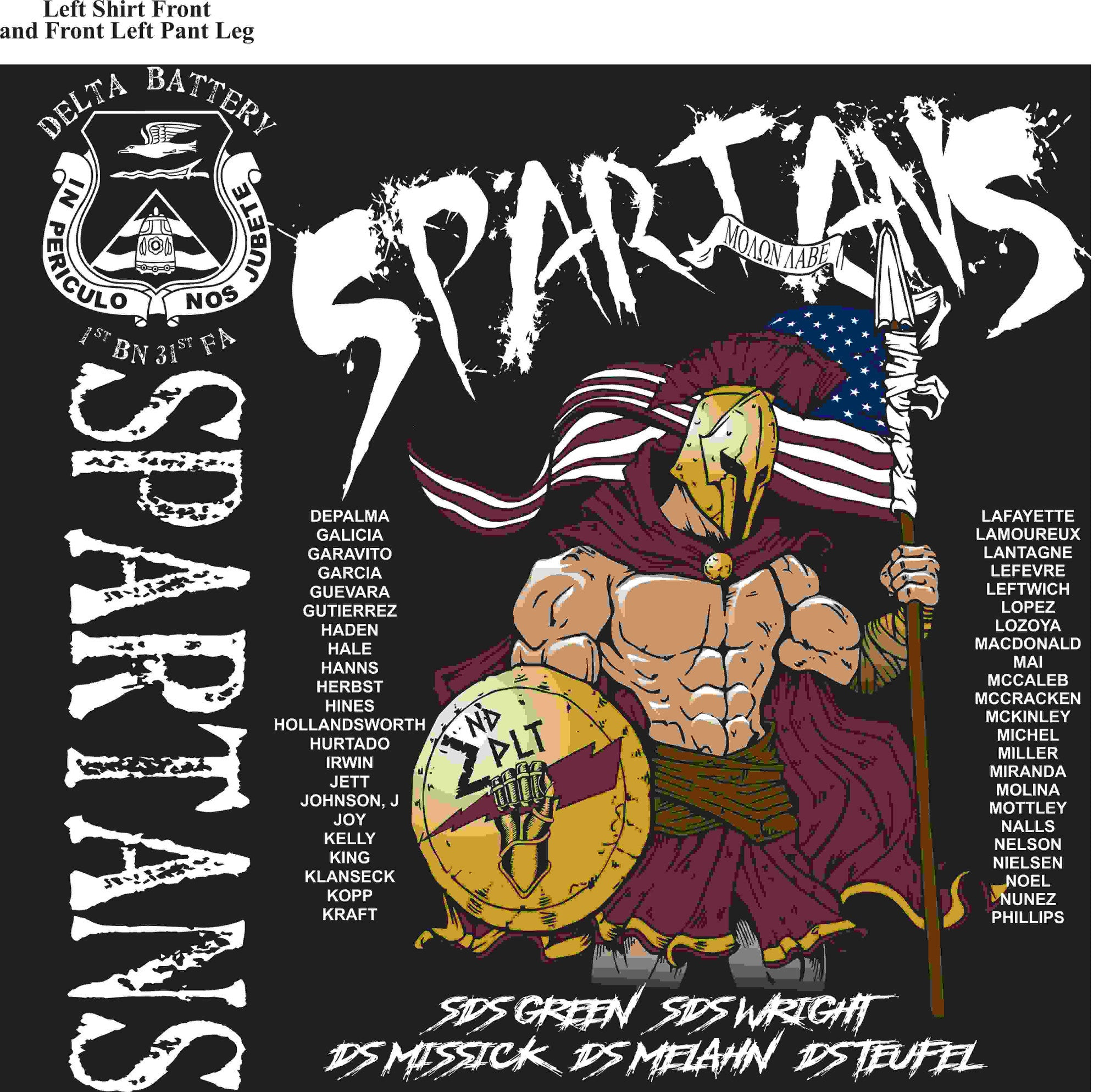 PLATOON SHIRTS (2nd generation print) DELTA 1st 31st SPARTANS JUNE 2016