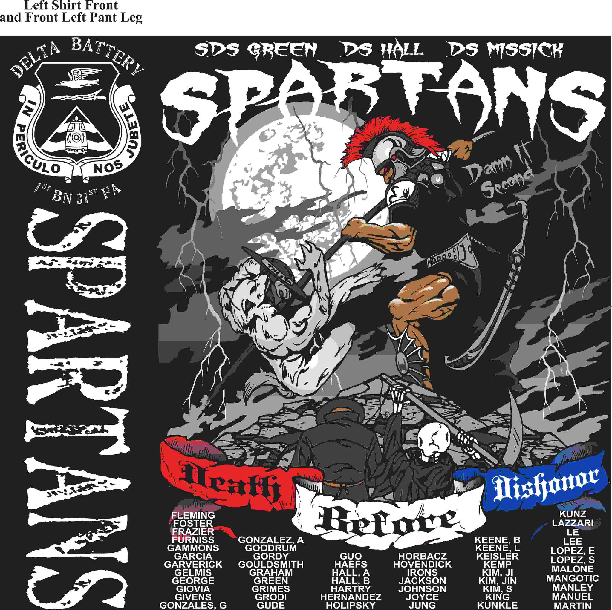 PLATOON SHIRTS (2nd generation print) DELTA 1st 31st SPARTANS MAR 2016