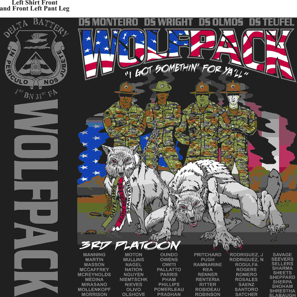 PLATOON SHIRTS (2nd generation print) DELTA 1st 31st WOLFPACK MAR 2016