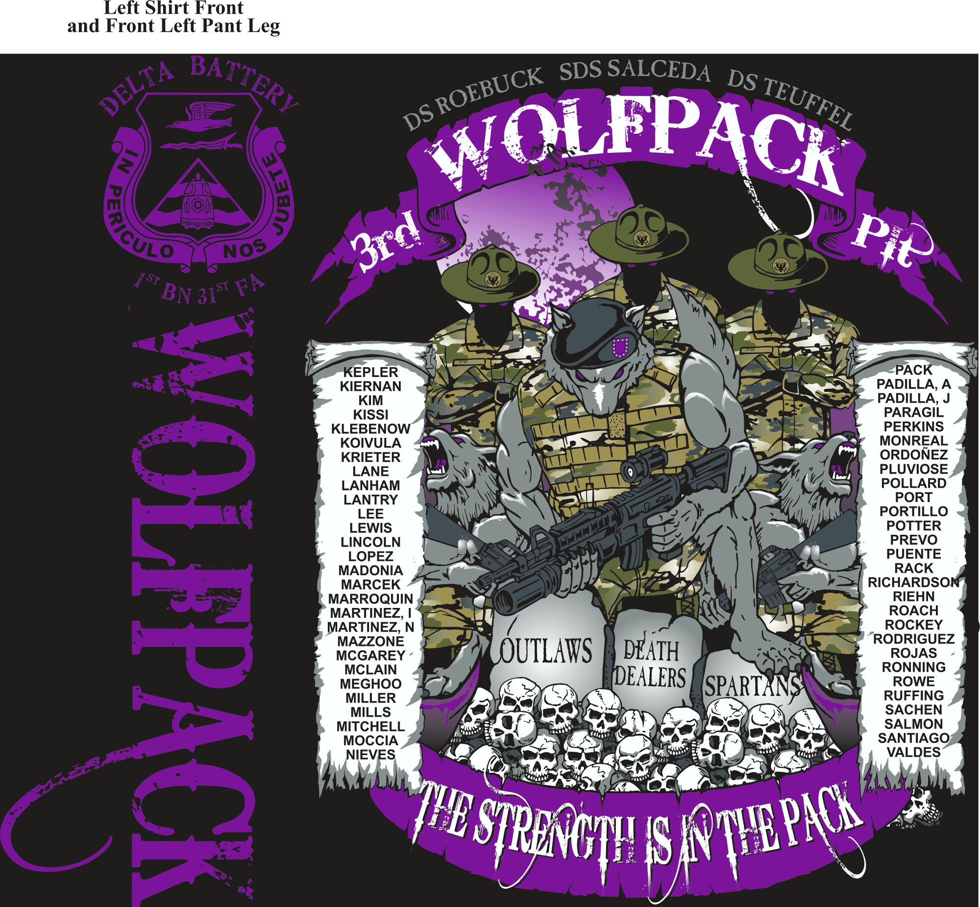 PLATOON SHIRTS (2nd generation print) DELTA 1st 31st WOLFPACK SEPT 2016