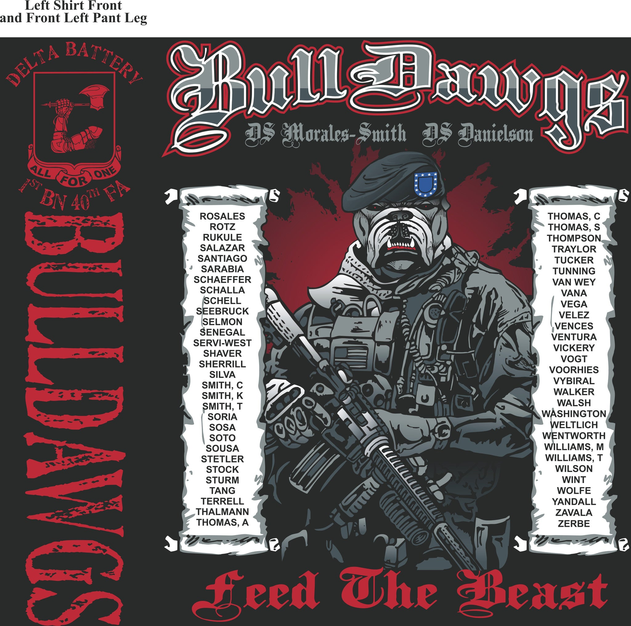 Platoon Shirts DELTA 1st 40th BULLDAWGS SEPT 2015