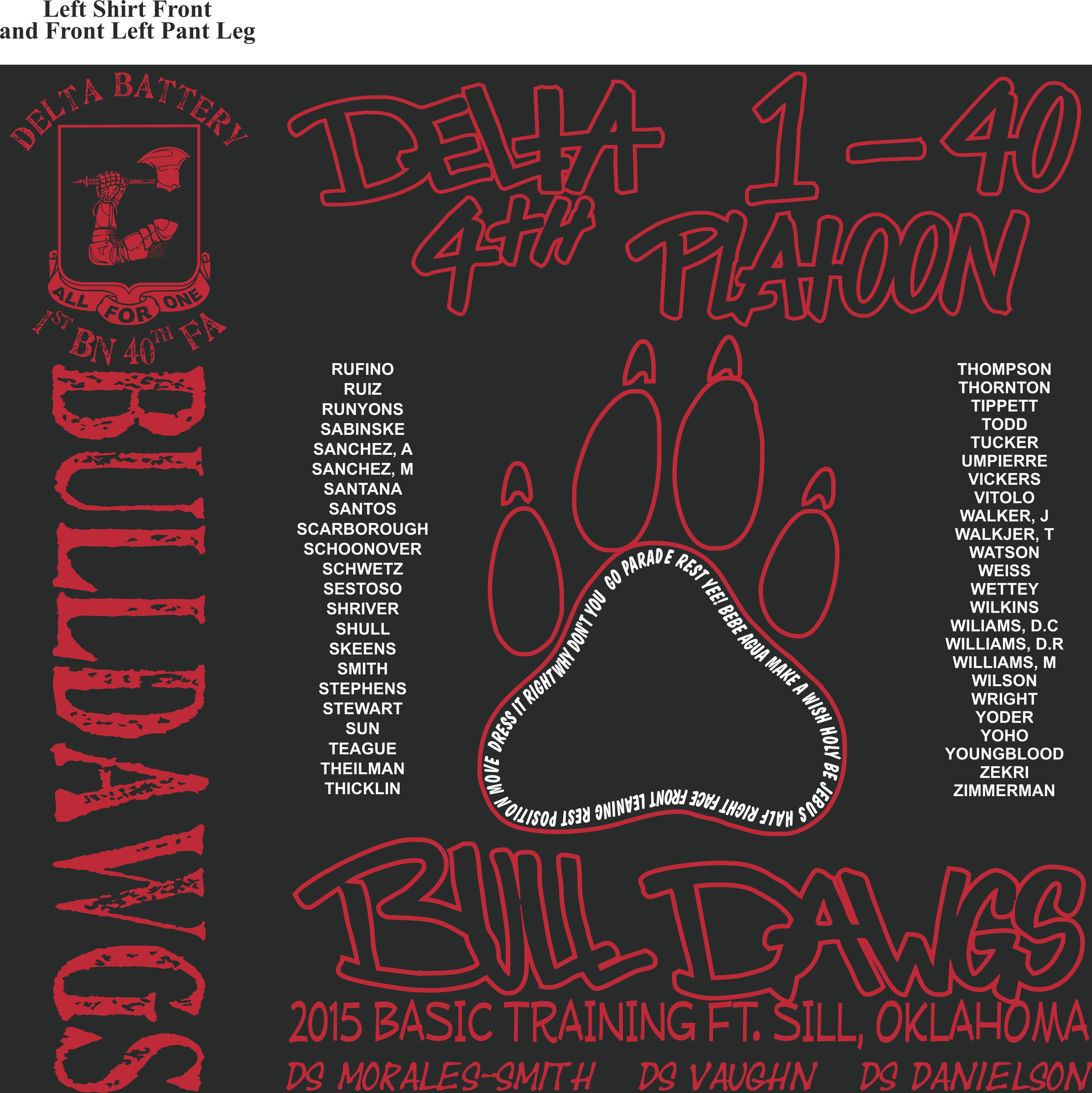 Platoon Shirts Delta 1st 40th BULLDAWGS MAR 2015