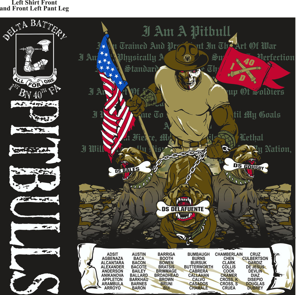 PLATOON SHIRTS (2nd generation print) DELTA 1st 40th PITBULLS DEC 2016