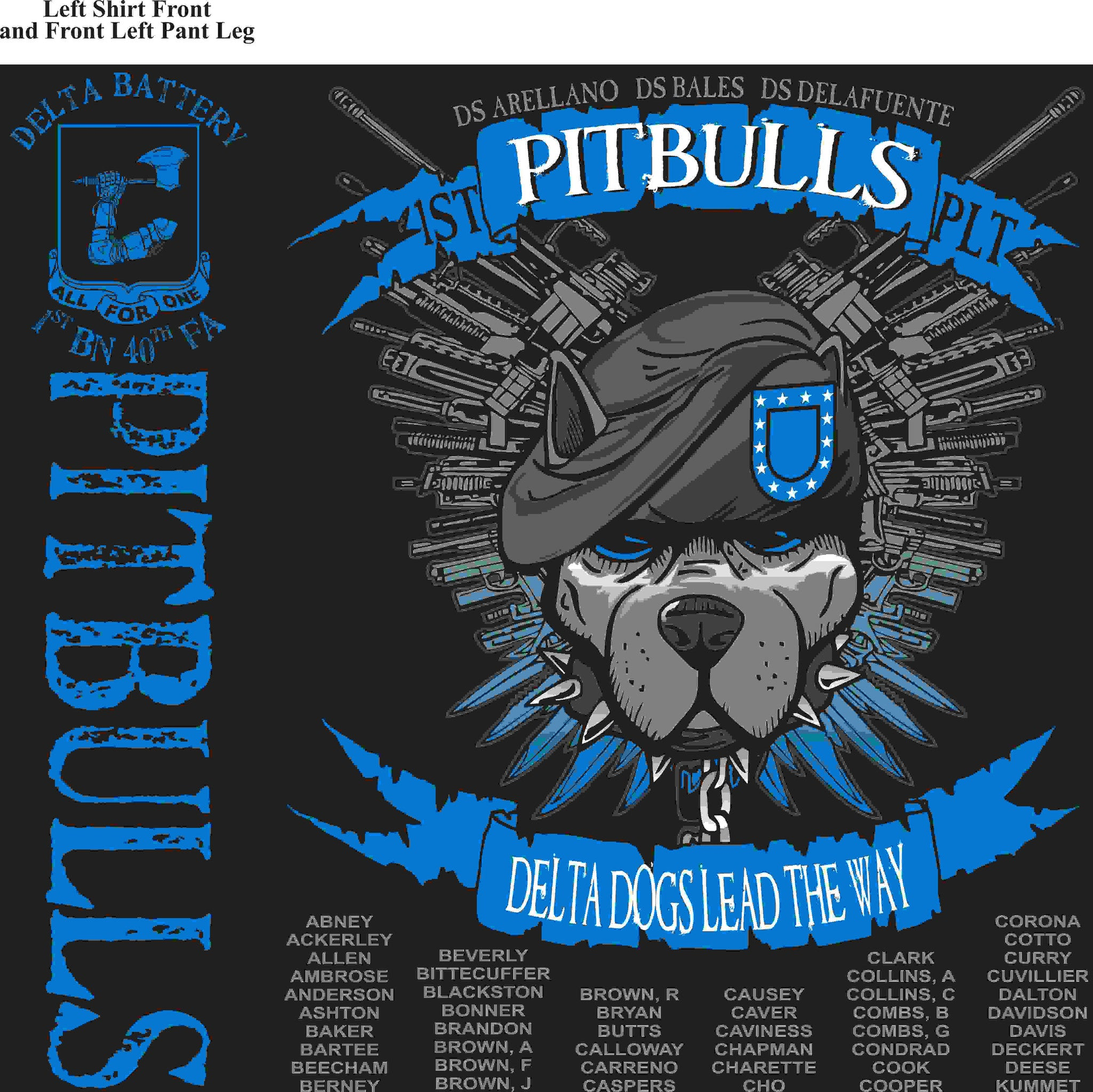PLATOON SHIRTS (2nd generation print) DELTA 1st 40th PITBULLS MAR 2016