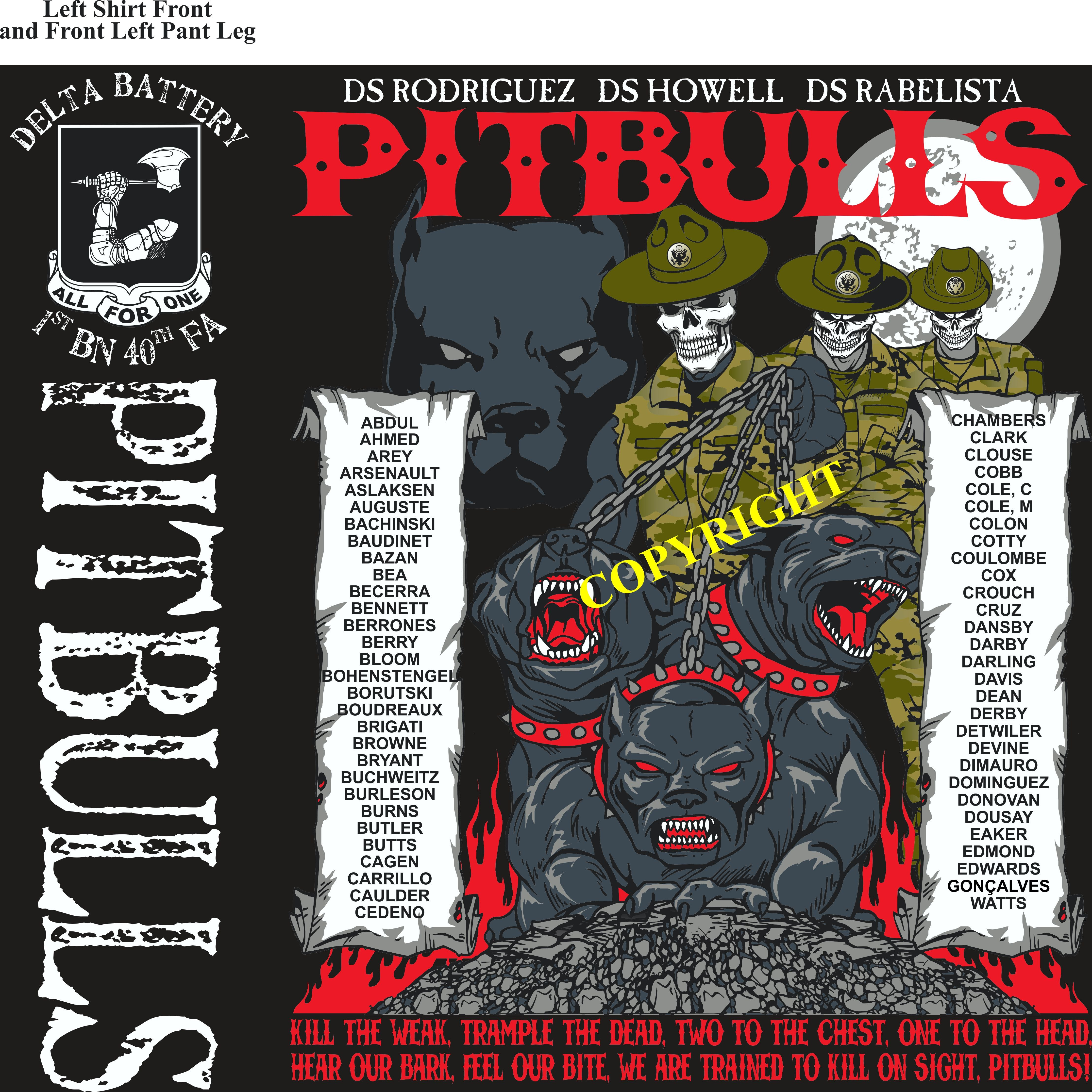 Platoon Shirts (2nd generation print) DELTA 1st 40th PITBULLS OCT 2018