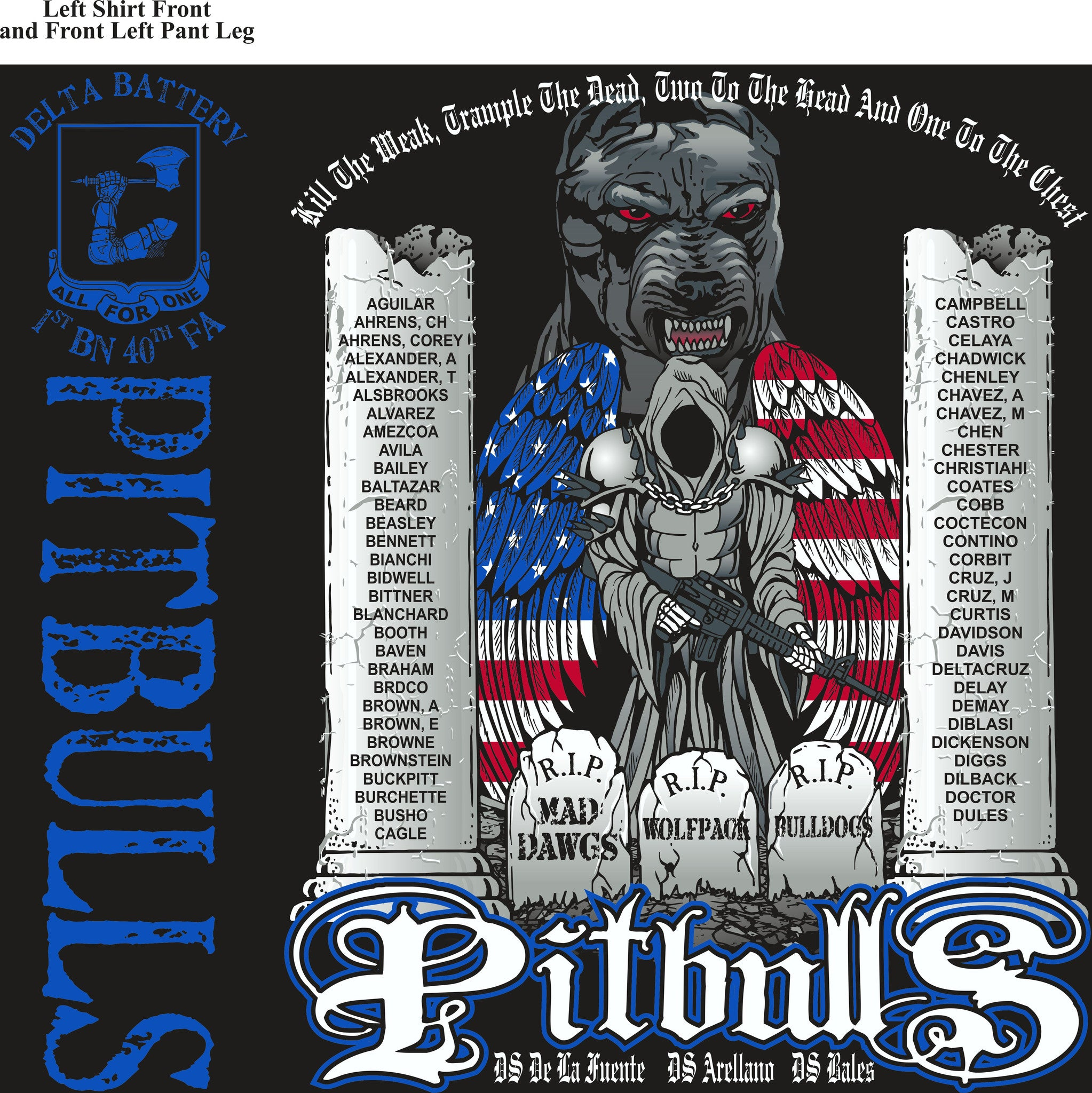 PLATOON SHIRTS (2nd generation print) DELTA 1st 40th PITBULLS SEPT 2016