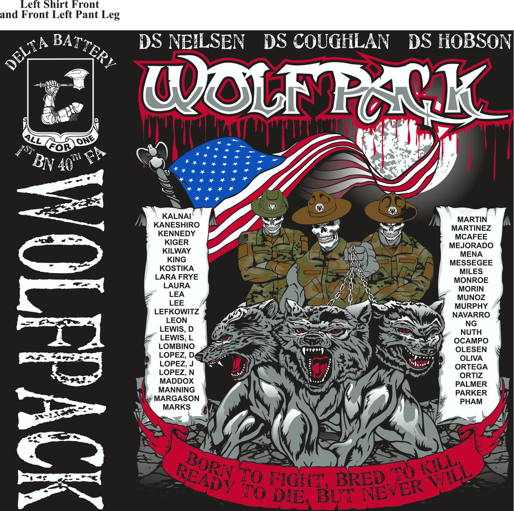 Platoon Shirts (2nd generation print) DELTA 1ST 40TH WOLFPACK APR 2018