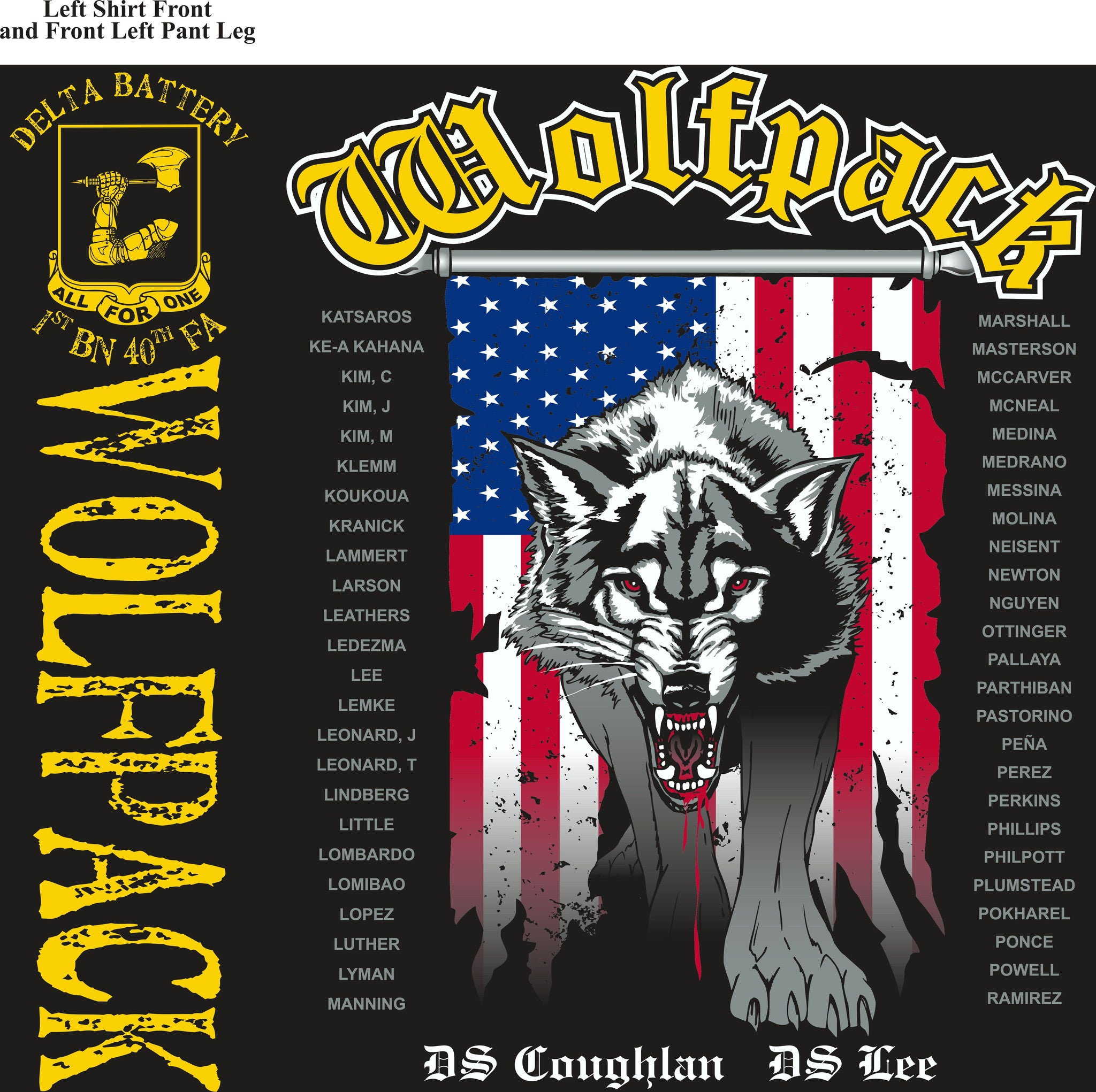 PLATOON SHIRTS (2nd generation print) DELTA 1st 40th WOLFPACK JUNE 2016