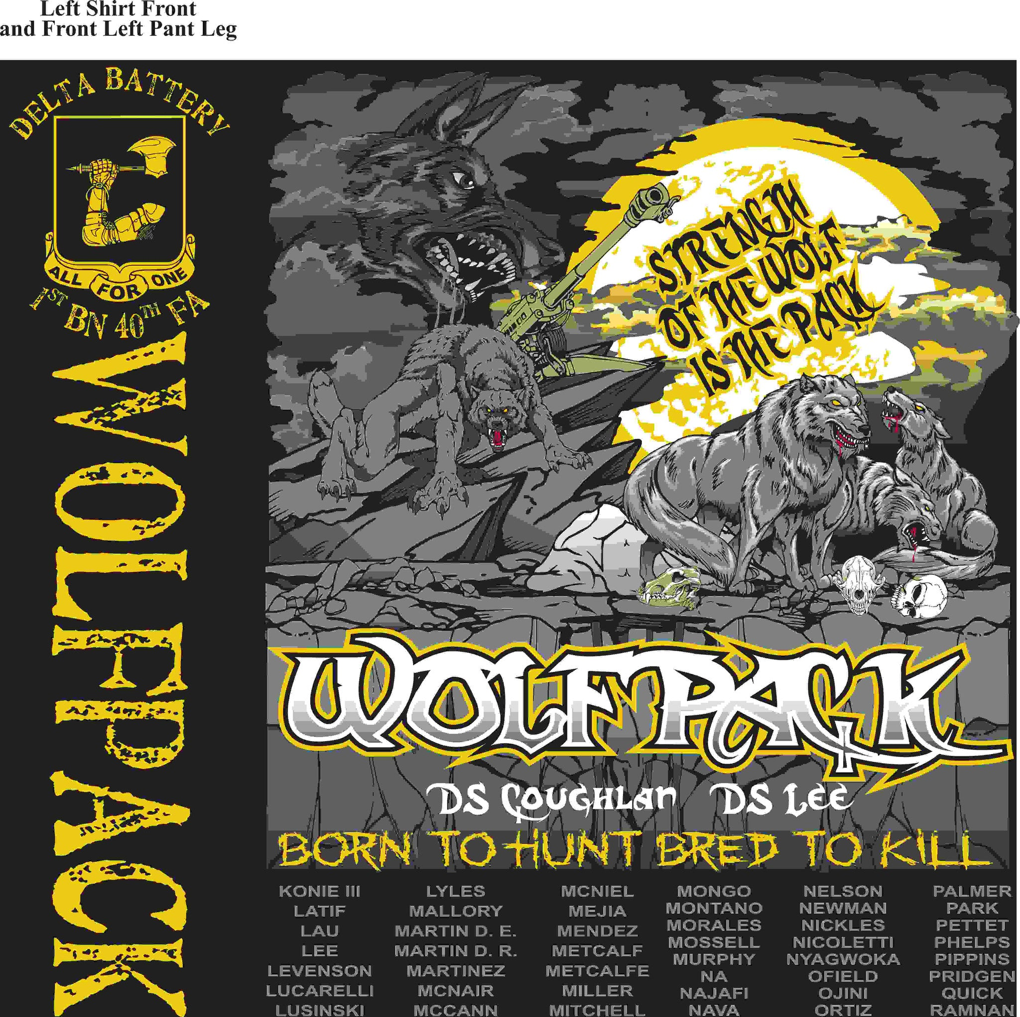 PLATOON SHIRTS (2nd generation print) DELTA 1st 40th WOLFPACK MAR 2016