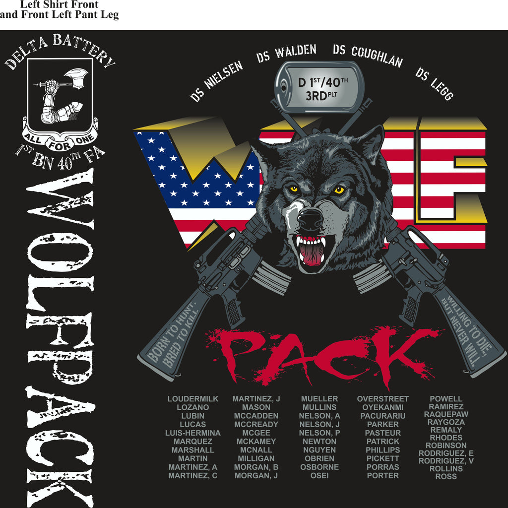 PLATOON SHIRTS (2nd generation print) DELTA 1st 40th WOLFPACK MAR 2017