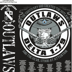 Platoon Shirts (2nd generation print) DELTA 1ST 79TH OUTLAWS AUG 2018