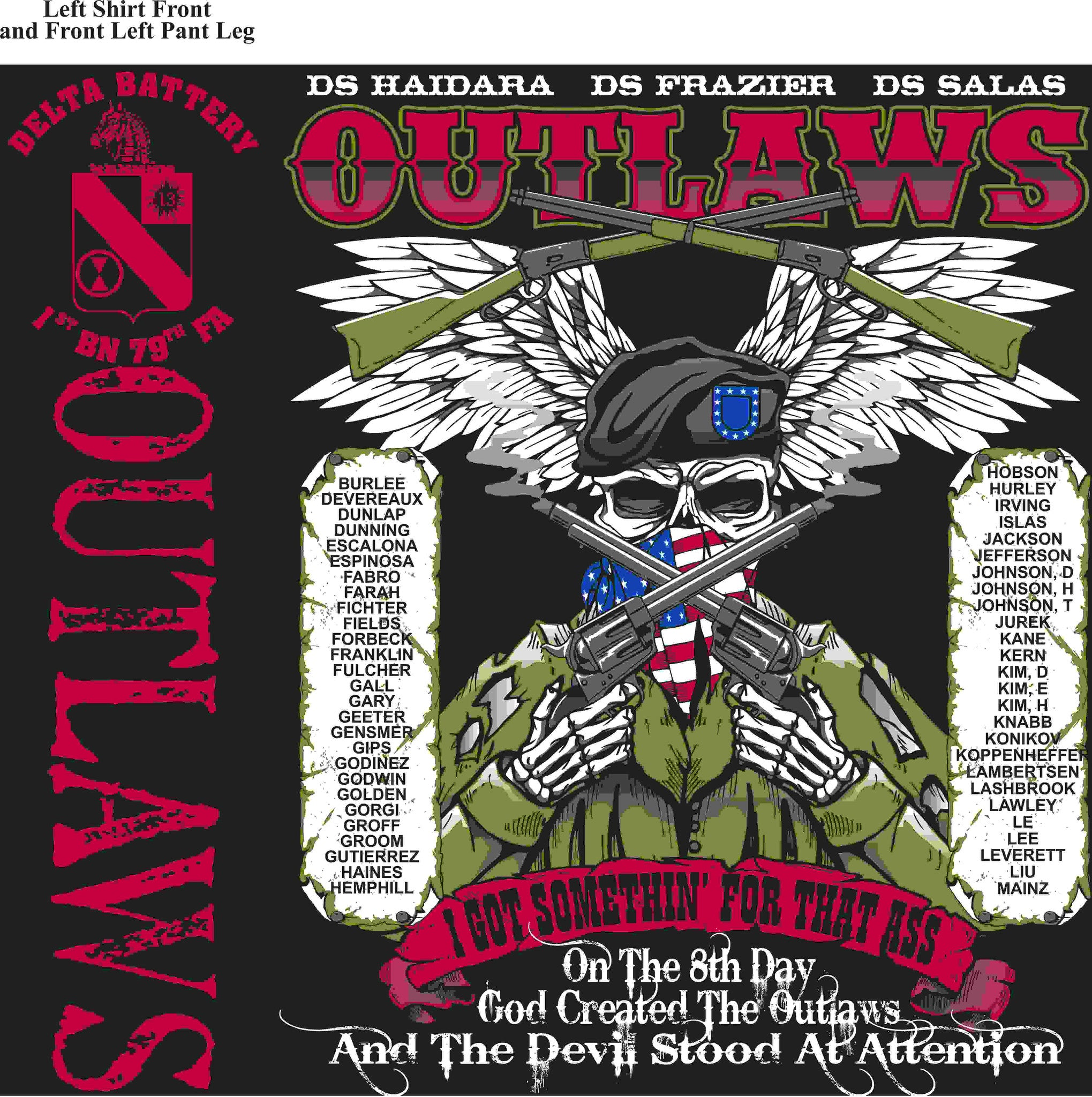 PLATOON SHIRTS (2nd generation print) DELTA 1st 79th OUTLAWS APR 2016