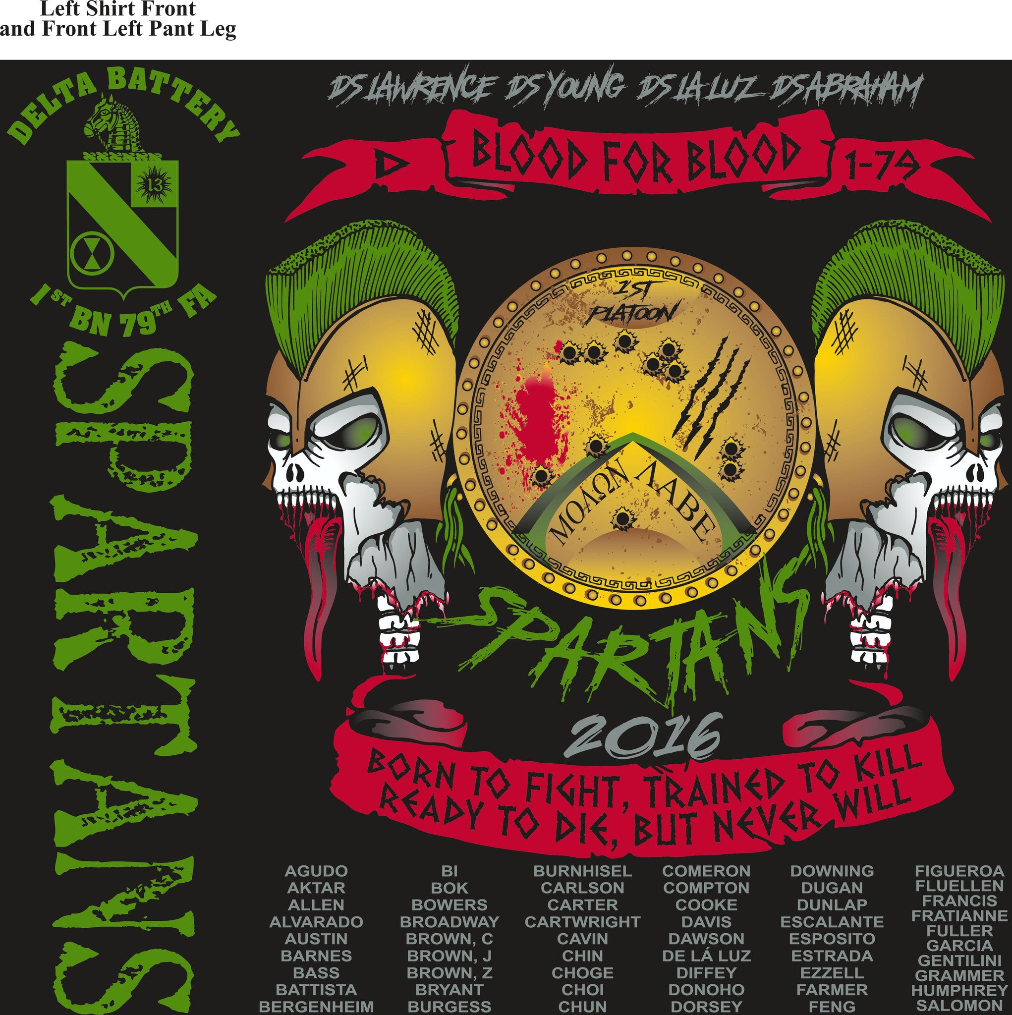 PLATOON SHIRTS (2nd generation print) Delta 1st 79th SPARTANS JULY 2016