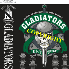 Platoon Shirts (2nd generation print) ECHO 1st 19th GLADIATORS DEC 2020