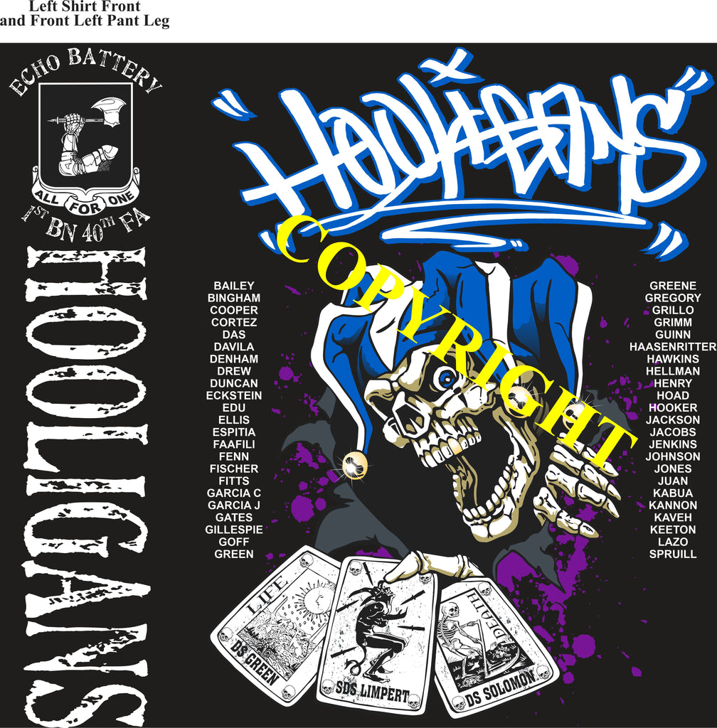 Platoon Shirts (2nd generation print) ECHO 1st 40th HOOLIGANS APR 2020