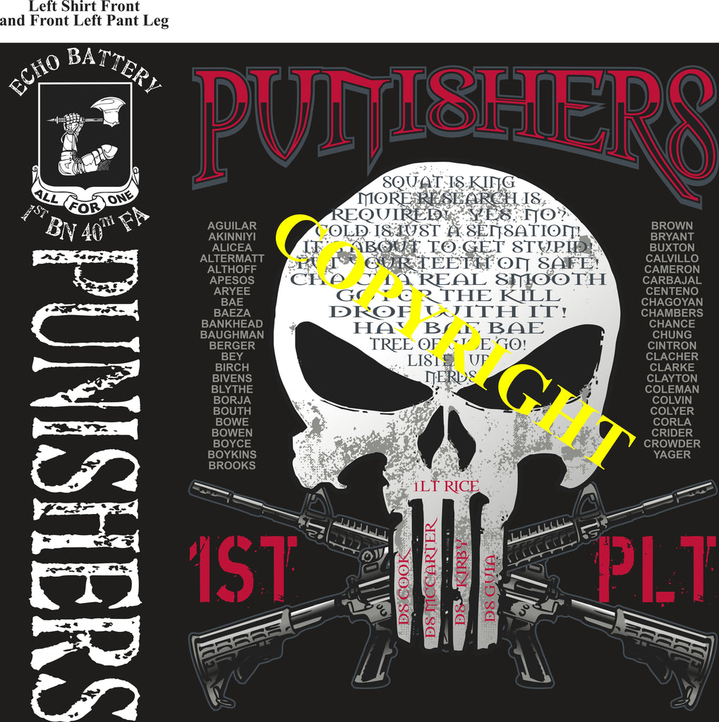 Platoon Shirts (2nd generation print) ECHO 1st 40th PUNISHERS APR 2020