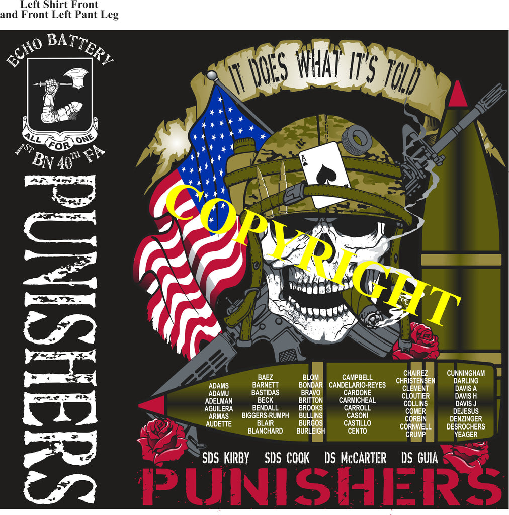 Platoon Shirts (2nd generation print) ECHO 1st 40th PUNISHERS JULY 2020