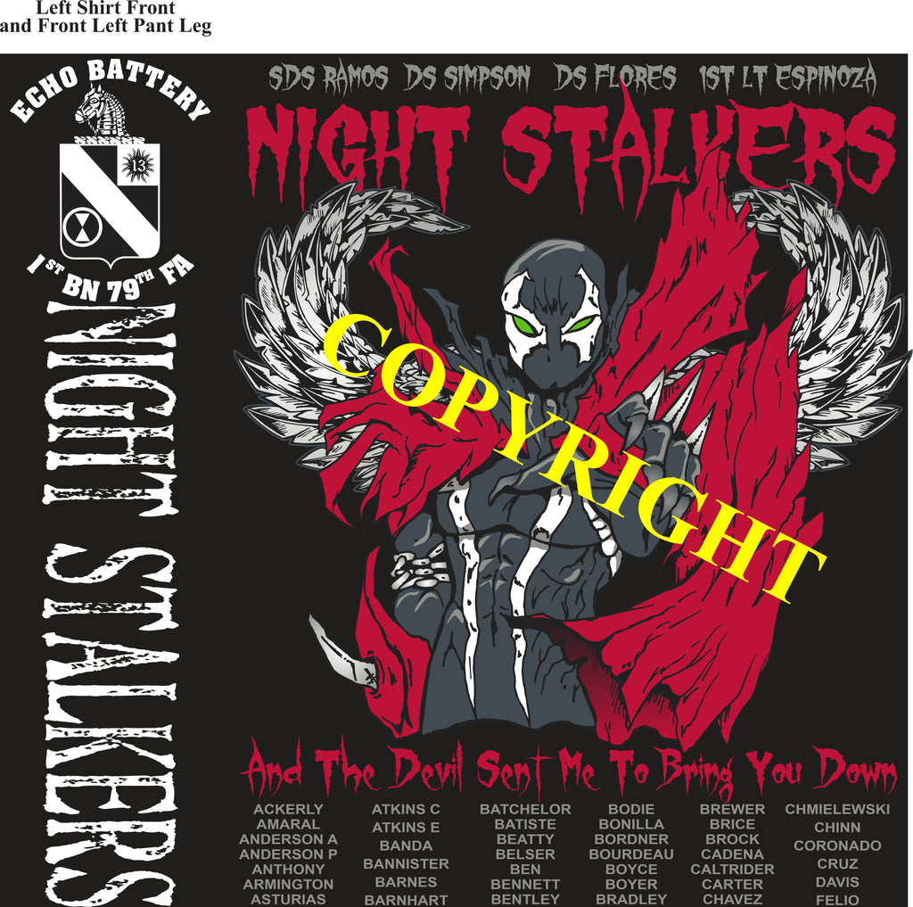Platoon Shirts (2nd generation print) ECHO 1st 79th NIGHT STALKERS APR 2020