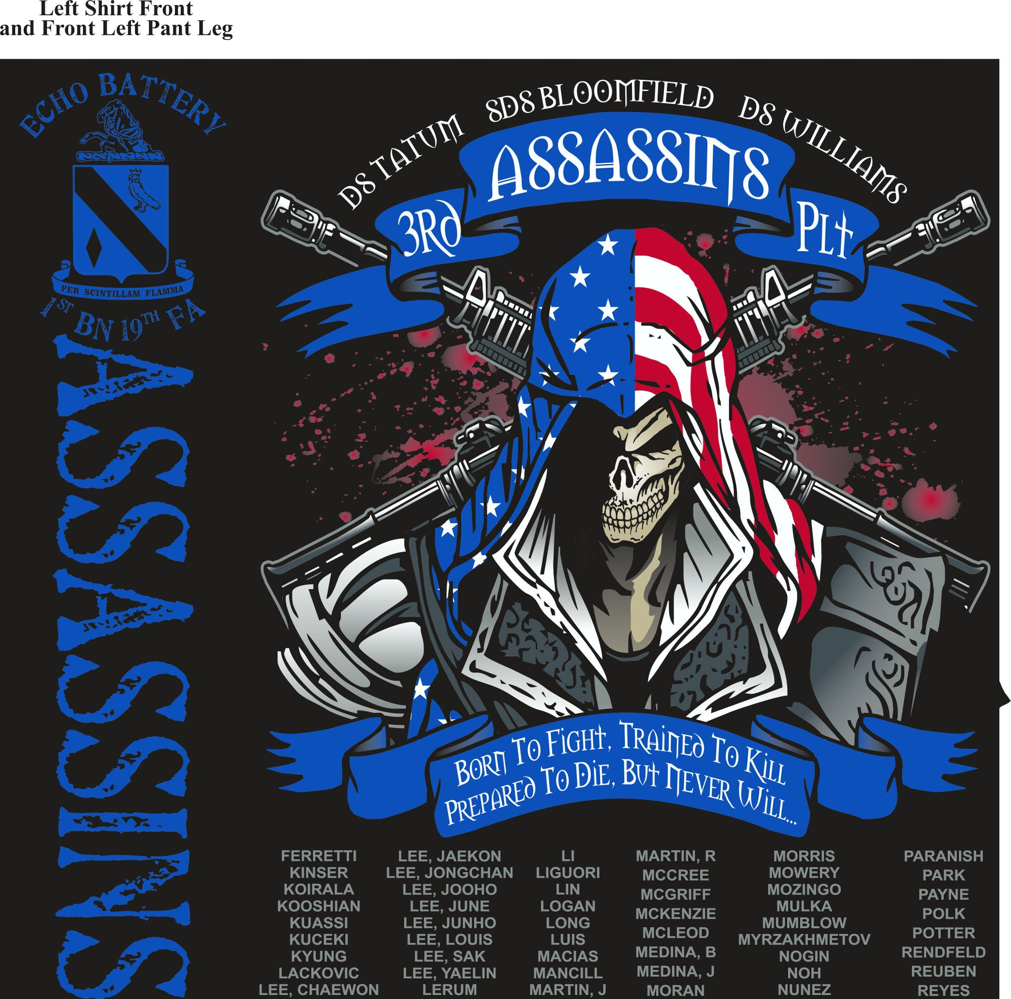 PLATOON SHIRTS (2nd generation print) ECHO 1st 19th ASSASSINS JULY 2016