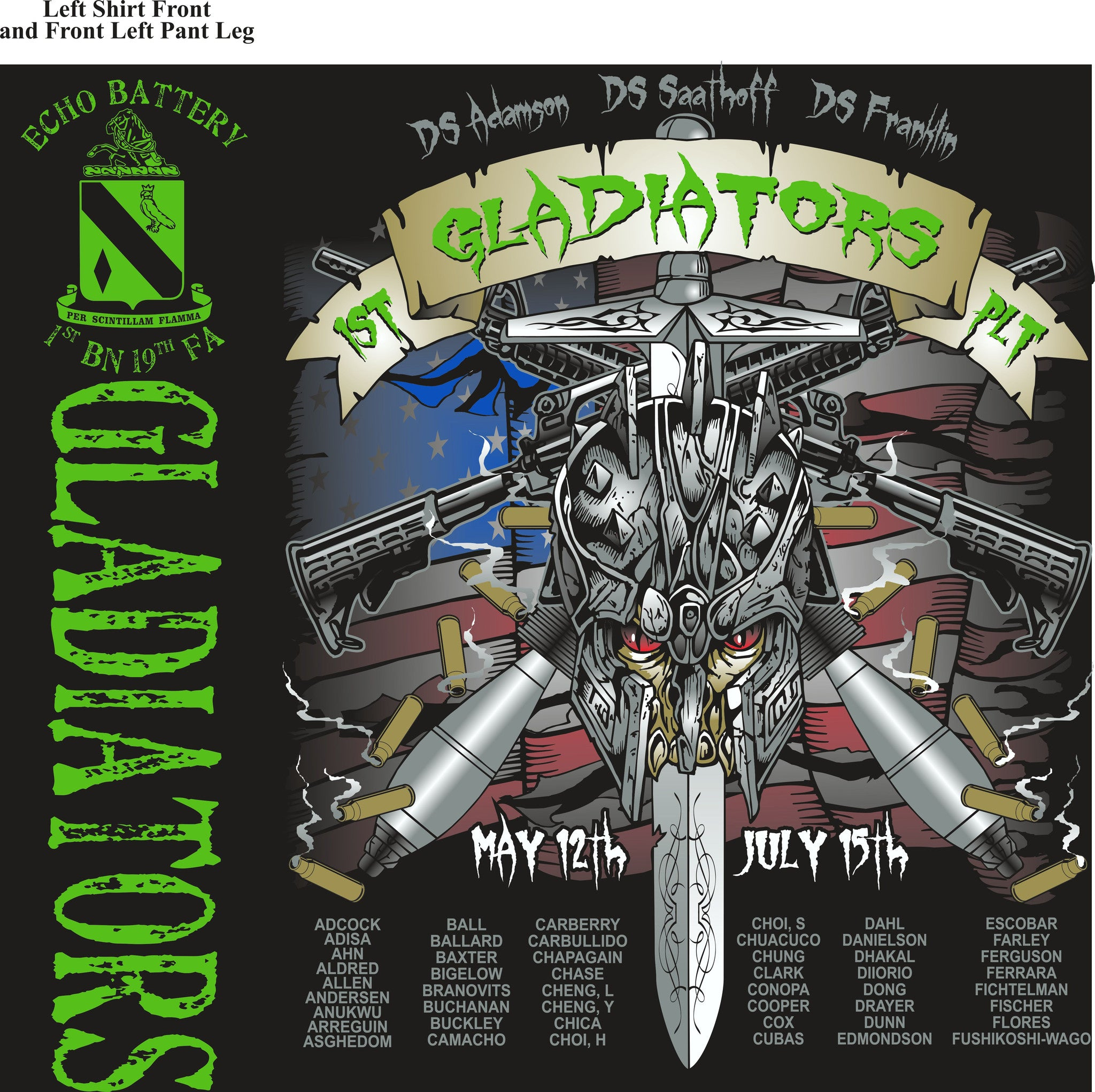 PLATOON SHIRTS (2nd generation print) ECHO 1st 19th GLADIATORS JULY 2016