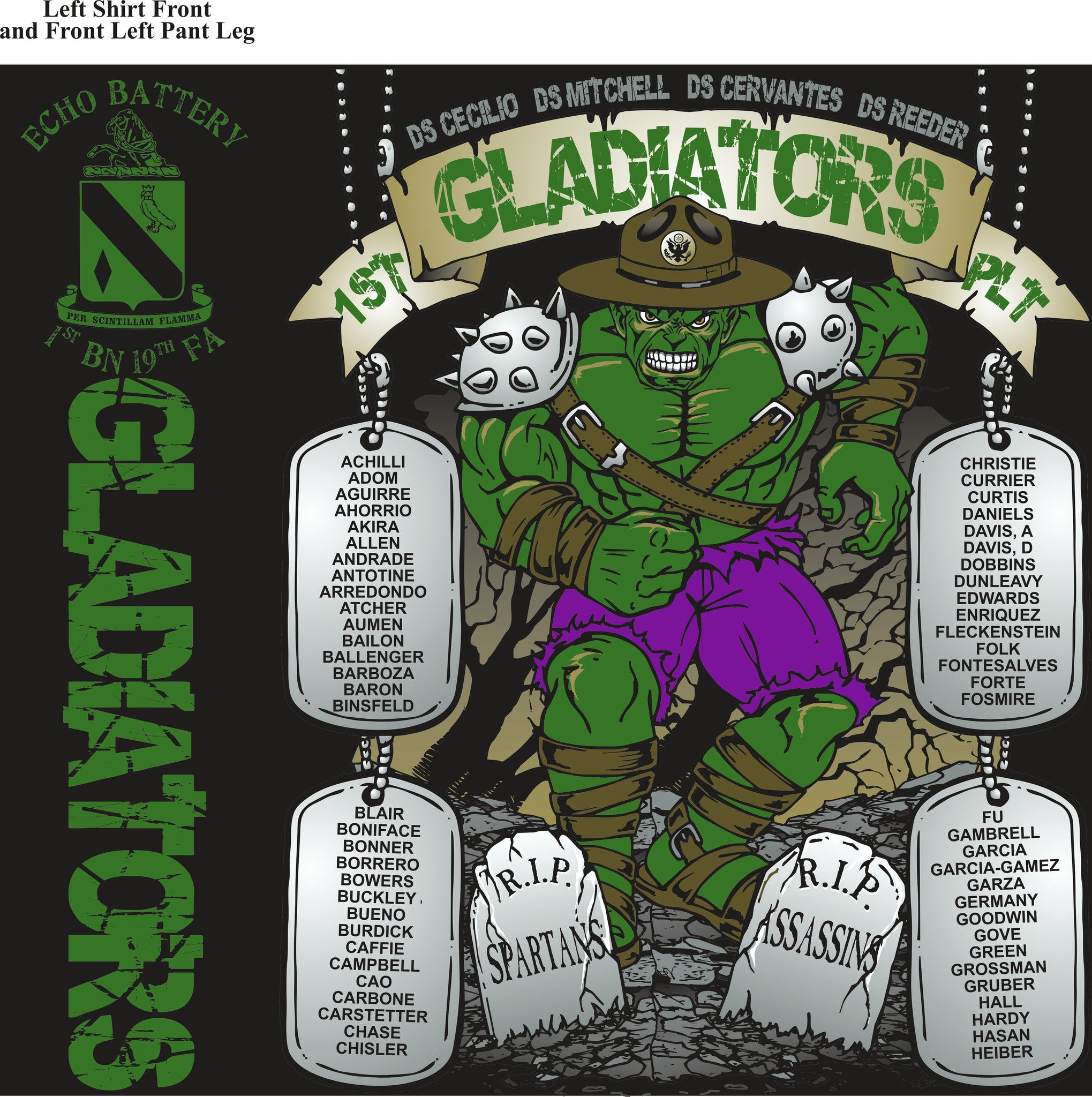 Platoon Shirts ECHO 1st 19th GLADIATORS MAR 2015