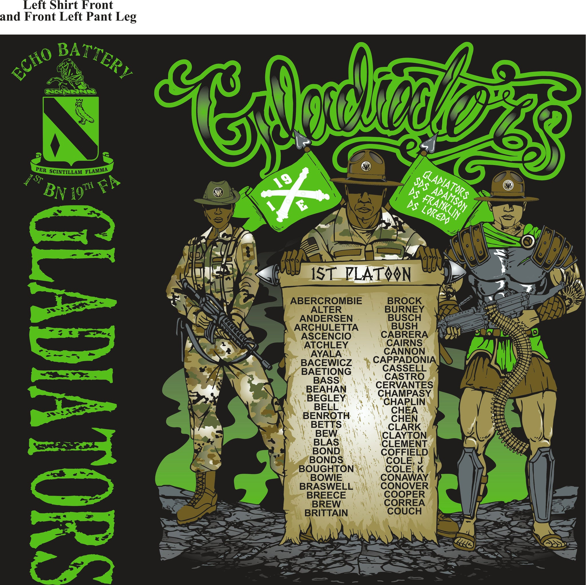 PLATOON SHIRTS (2nd generation print) ECHO 1st 19th GLADIATORS OCT 2016