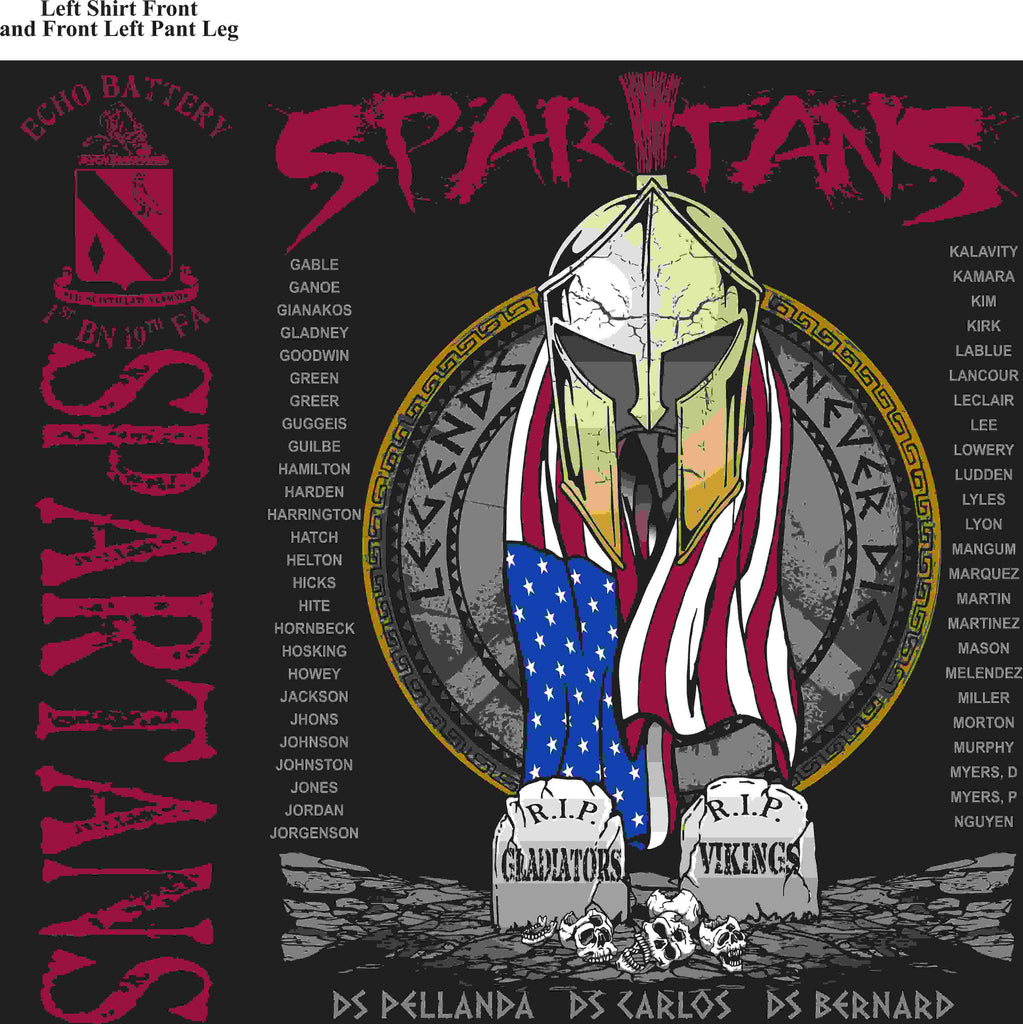 PLATOON SHIRTS (2nd generation print) ECHO 1st 19th SPARTANS APR 2016