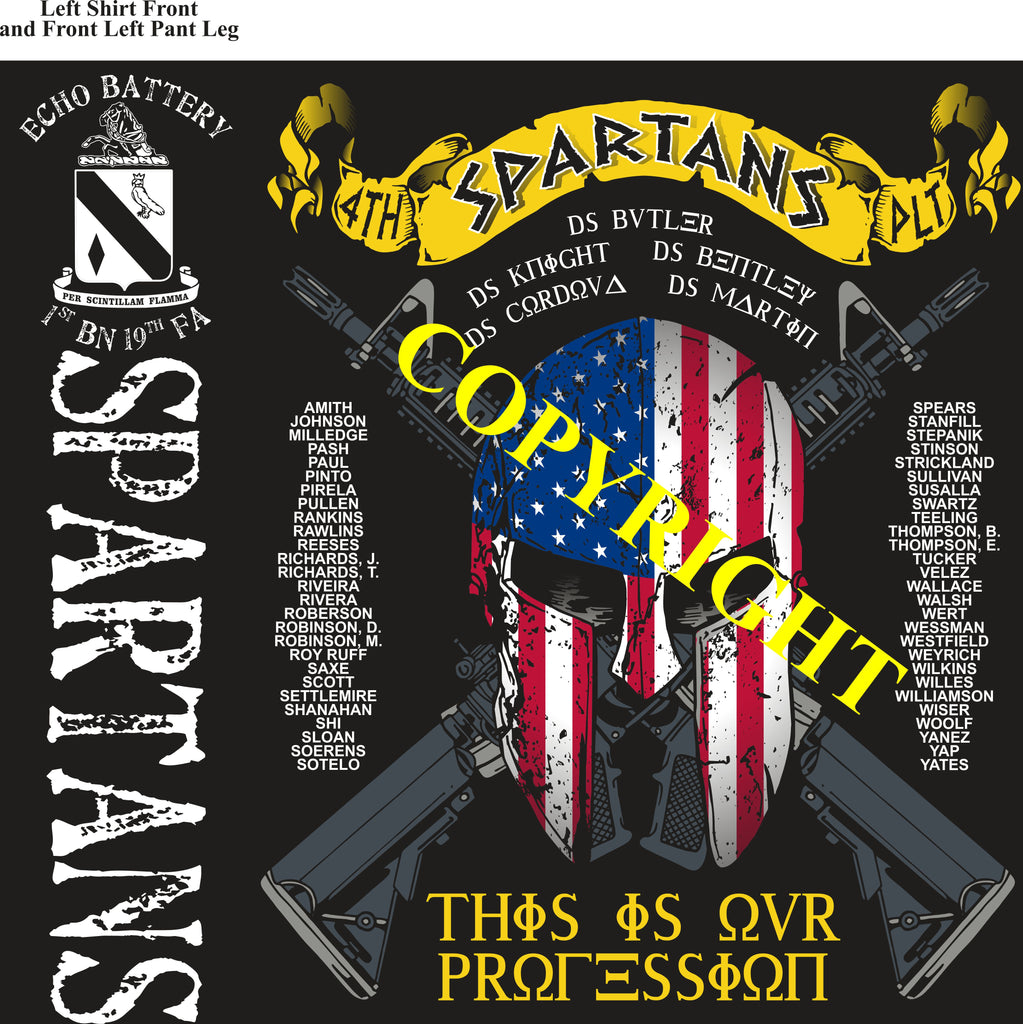 Platoon Shirts (2nd generation print) ECHO 1st 19th SPARTANS AUG 2019
