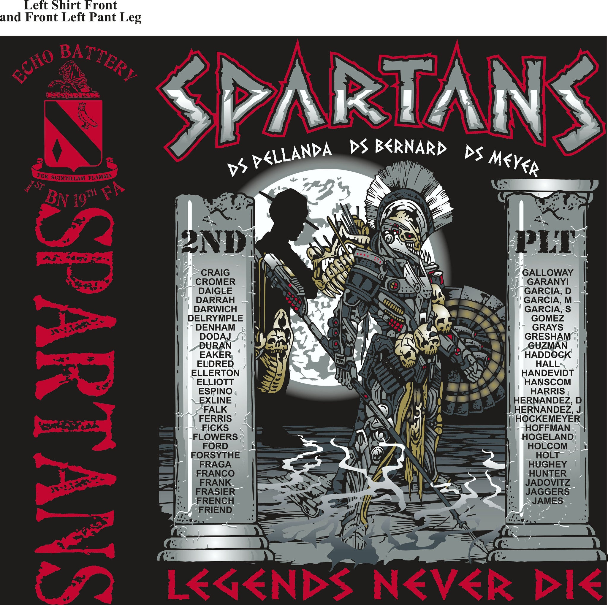 PLATOON SHIRTS (2nd generation print) ECHO 1st 19th SPARTANS OCT 2016