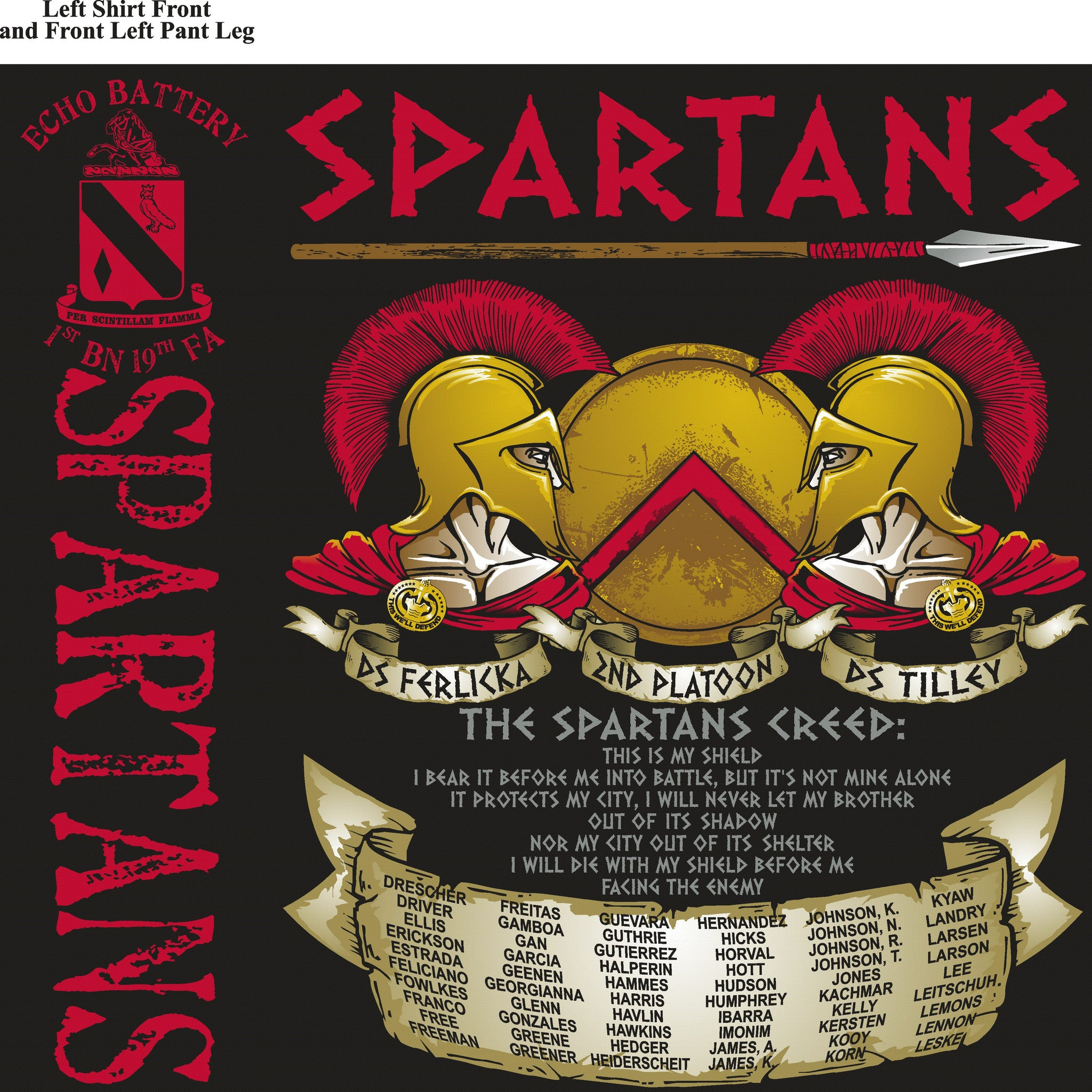 Platoon Shirts ECHO 1st 19th SPARTANS SEPT 2015