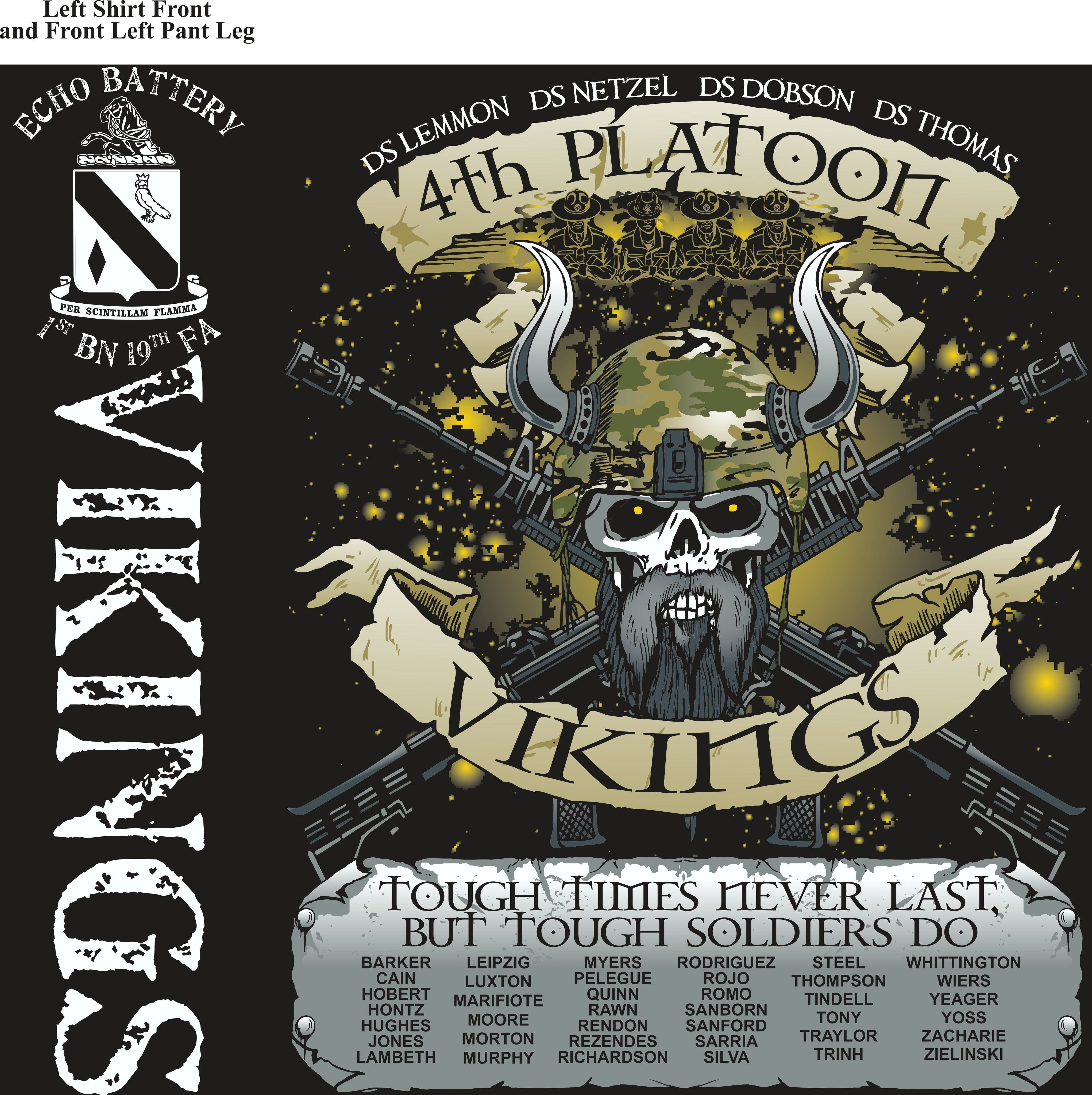 PLATOON SHIRTS (2nd generation print) ECHO 1st 19th VIKINGS JUNE 2017