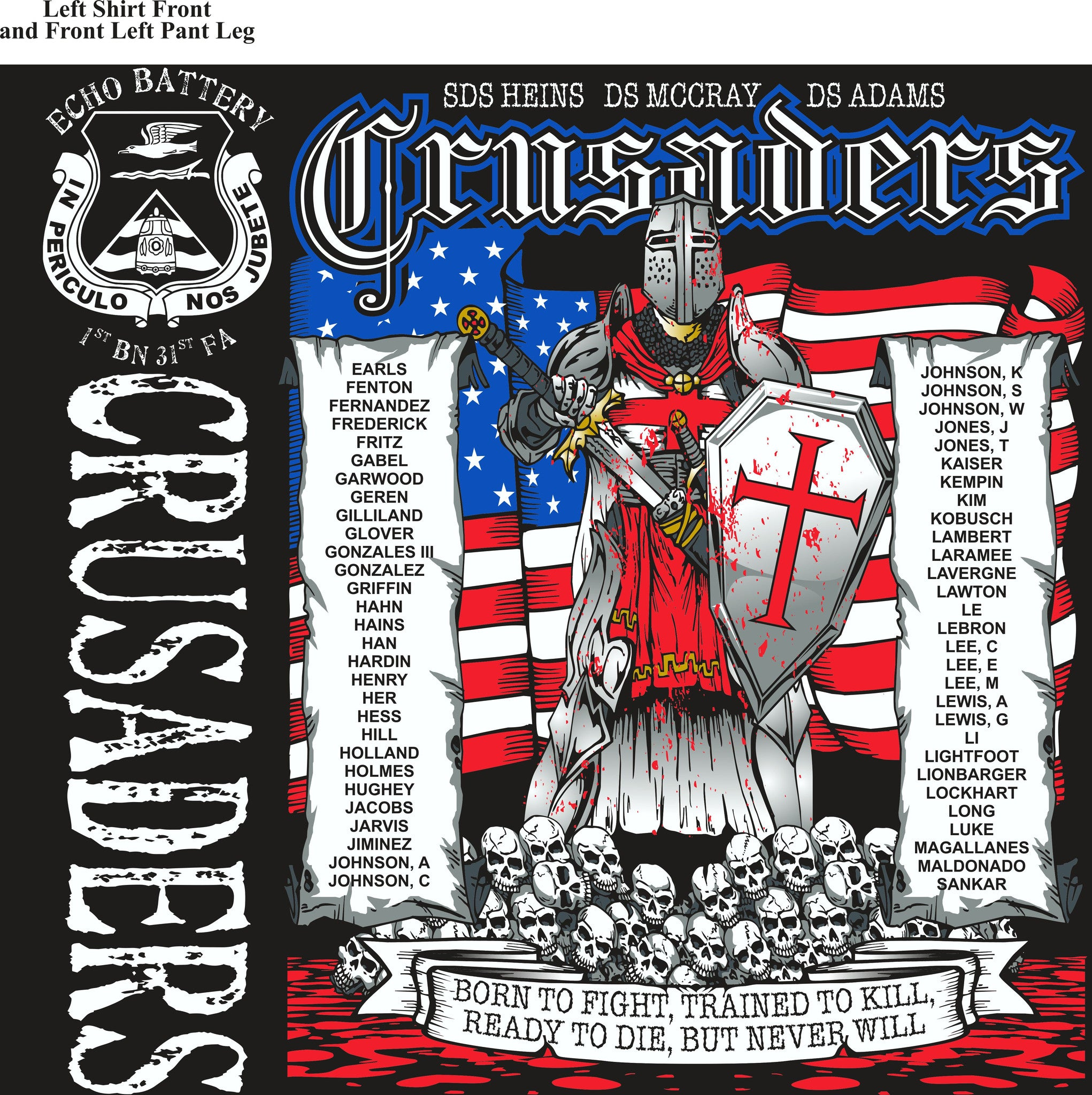 PLATOON SHIRTS (2nd generation print) ECHO 1st 31st CRUSADERS AUG 2016