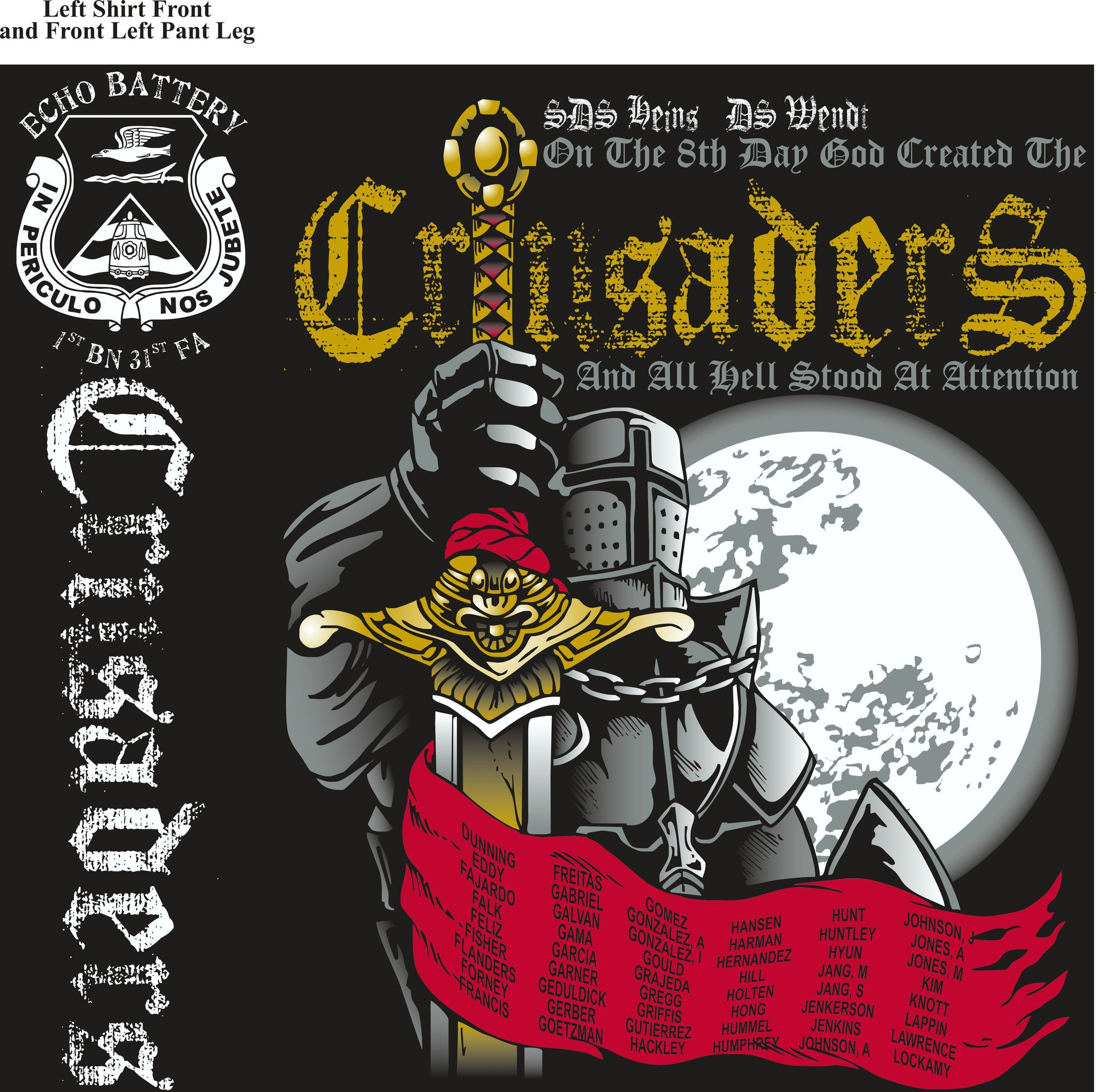 PLATOON SHIRTS (2nd generation print) ECHO 1st 31st CRUSADERS NOV 2016