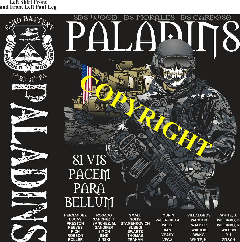 Platoon Shirts (2nd generation print) ECHO 1st 31st PALADINS NOV 2019